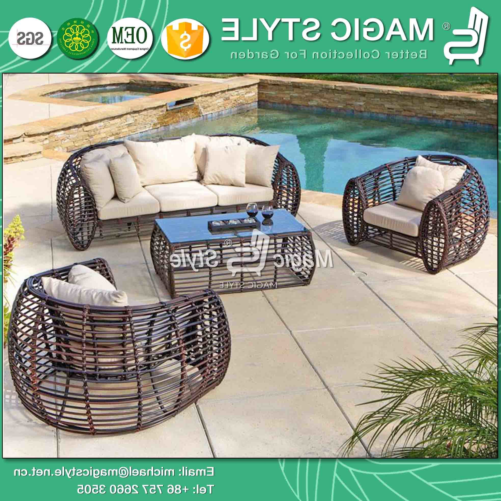 Most Recent China Round Wicker Patio Sofa Set Outdoor Sofa With Cushion With Regard To Michal Patio Sofas With Cushions (View 11 of 20)