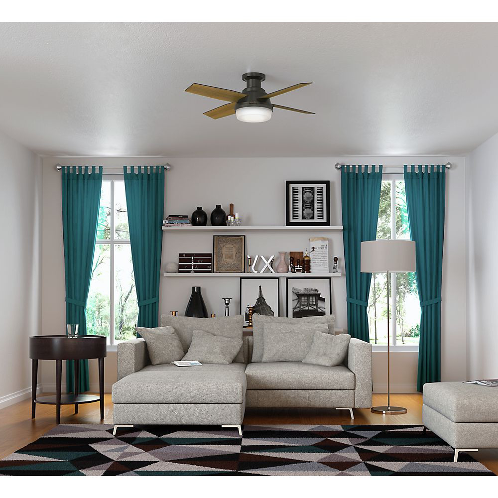 """Most Recent Dempsey Low Profile 4 Blade Ceiling Fans With Remote Inside Hunter 44"""" Dempsey Low Profile With Light Fresh White Ceiling Fan With  Light With Handheld Remote (View 18 of 20)"""