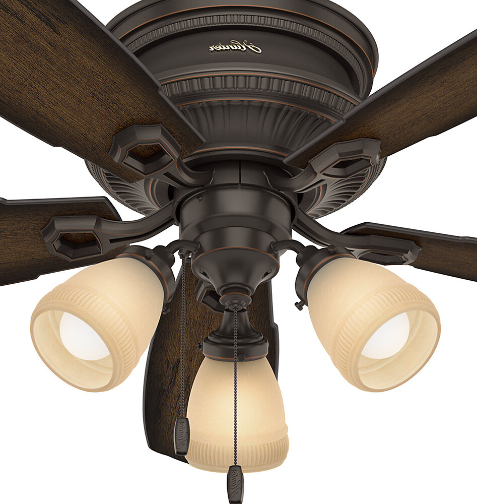 "Most Recent Hunter Fan 52"" Ambrose Low Profile 5 Blade Ceiling Fan With Remote, Light Kit Included With Hunter Low Profile 5 Blade Ceiling Fans (View 18 of 20)"