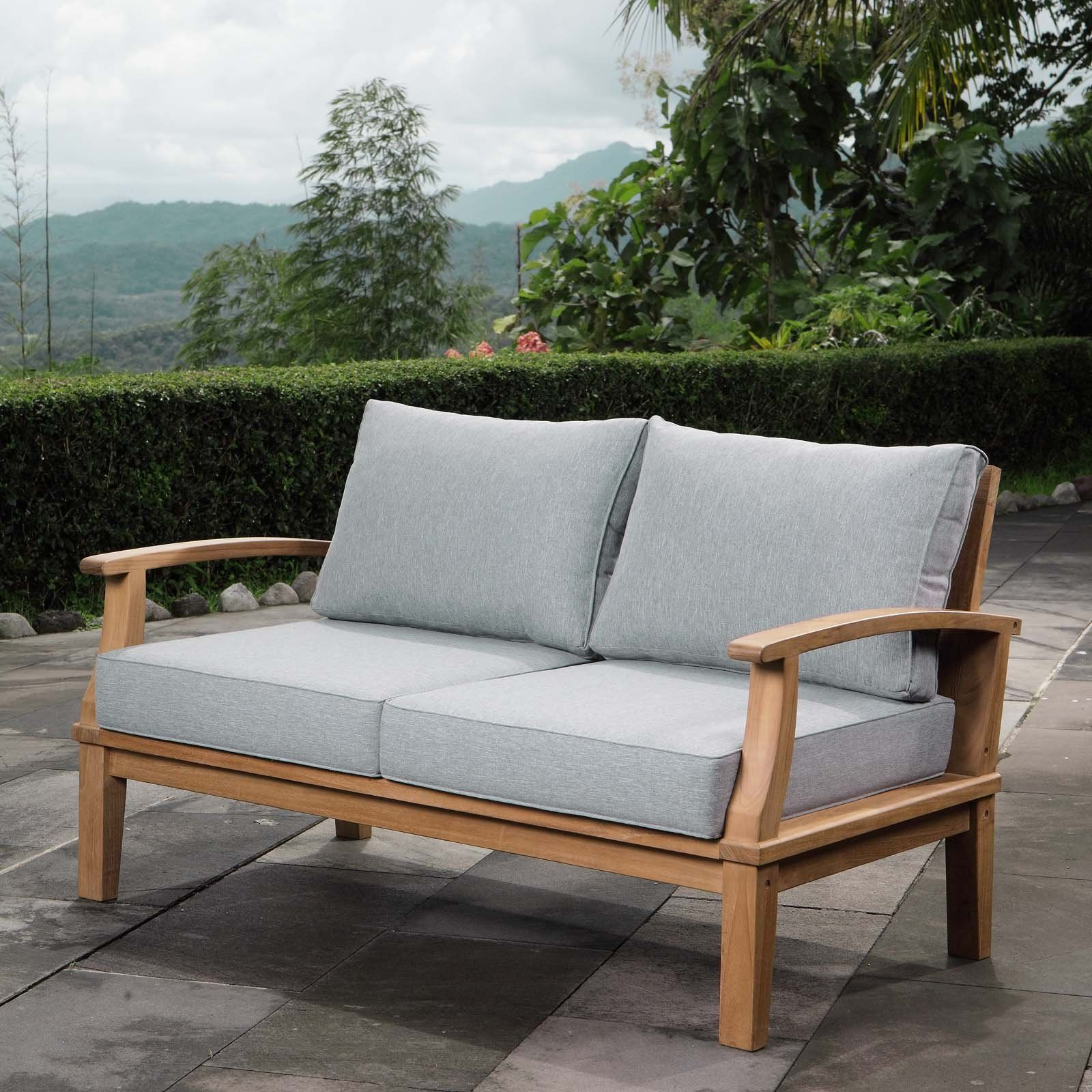 Most Recent Lyall Loveseats With Cushion Regarding Cosette Outdoor Patio Teak Loveseat Wl 00127 Mw In (View 13 of 20)