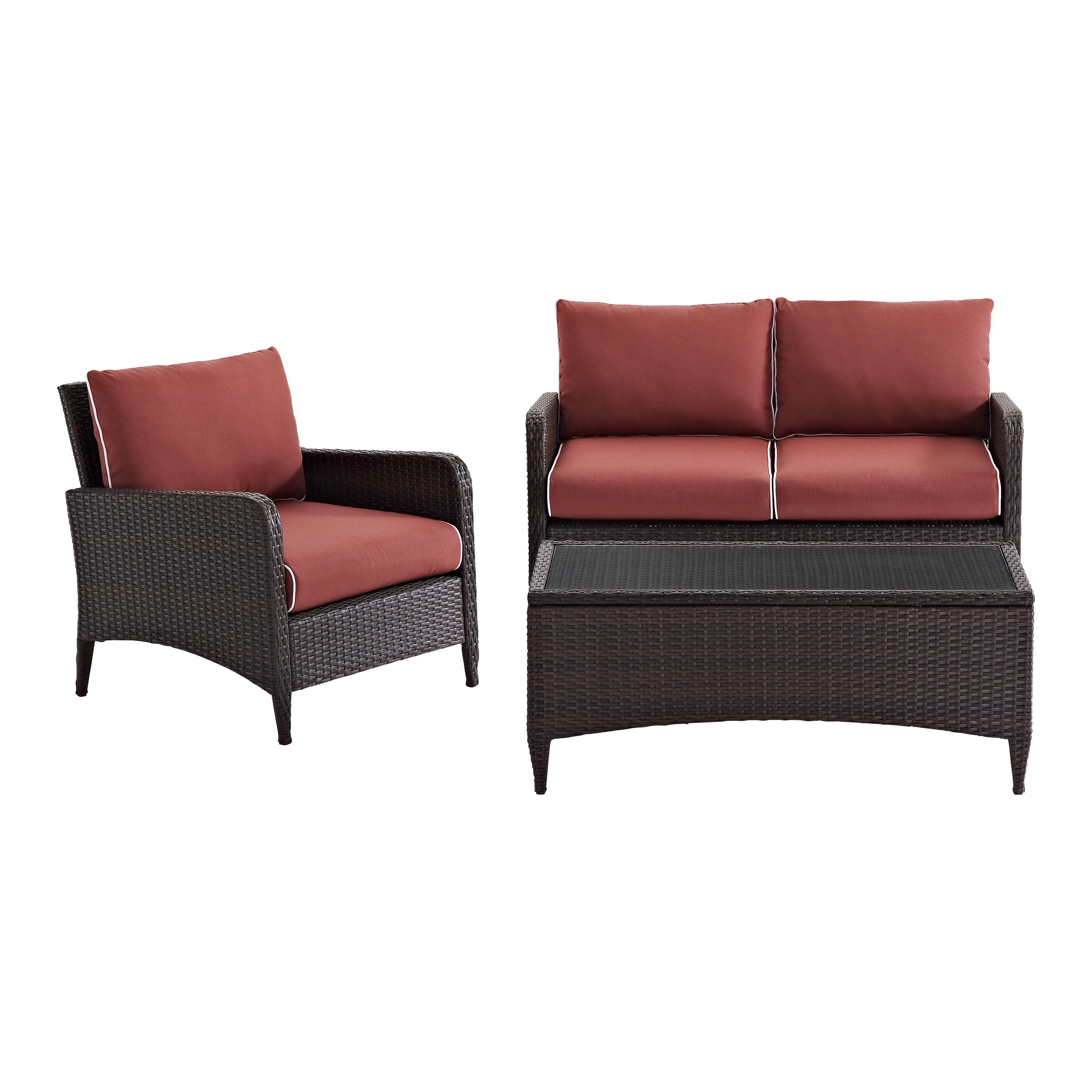 Most Recent Mosca 3 Piece Sofa Set With Cushions Throughout Mosca Patio Loveseats With Cushions (View 15 of 20)