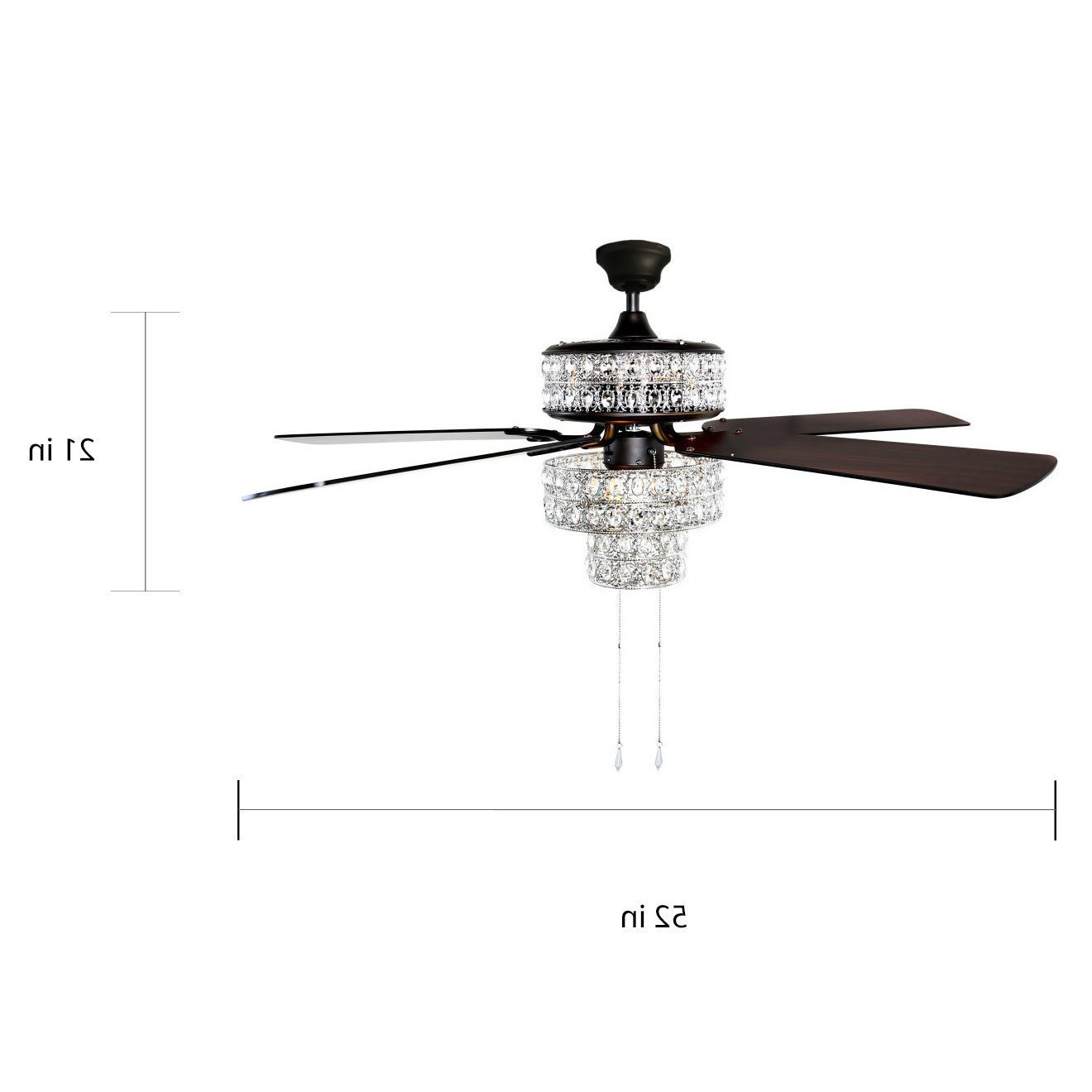 """Most Recent Njie Caged Crystal 5 Blade Ceiling Fans Throughout Silver Orchid March Silver Punched Metal And Clear Crystal Ceiling Fan –  52""""l X 52""""w X 21""""h (View 13 of 20)"""