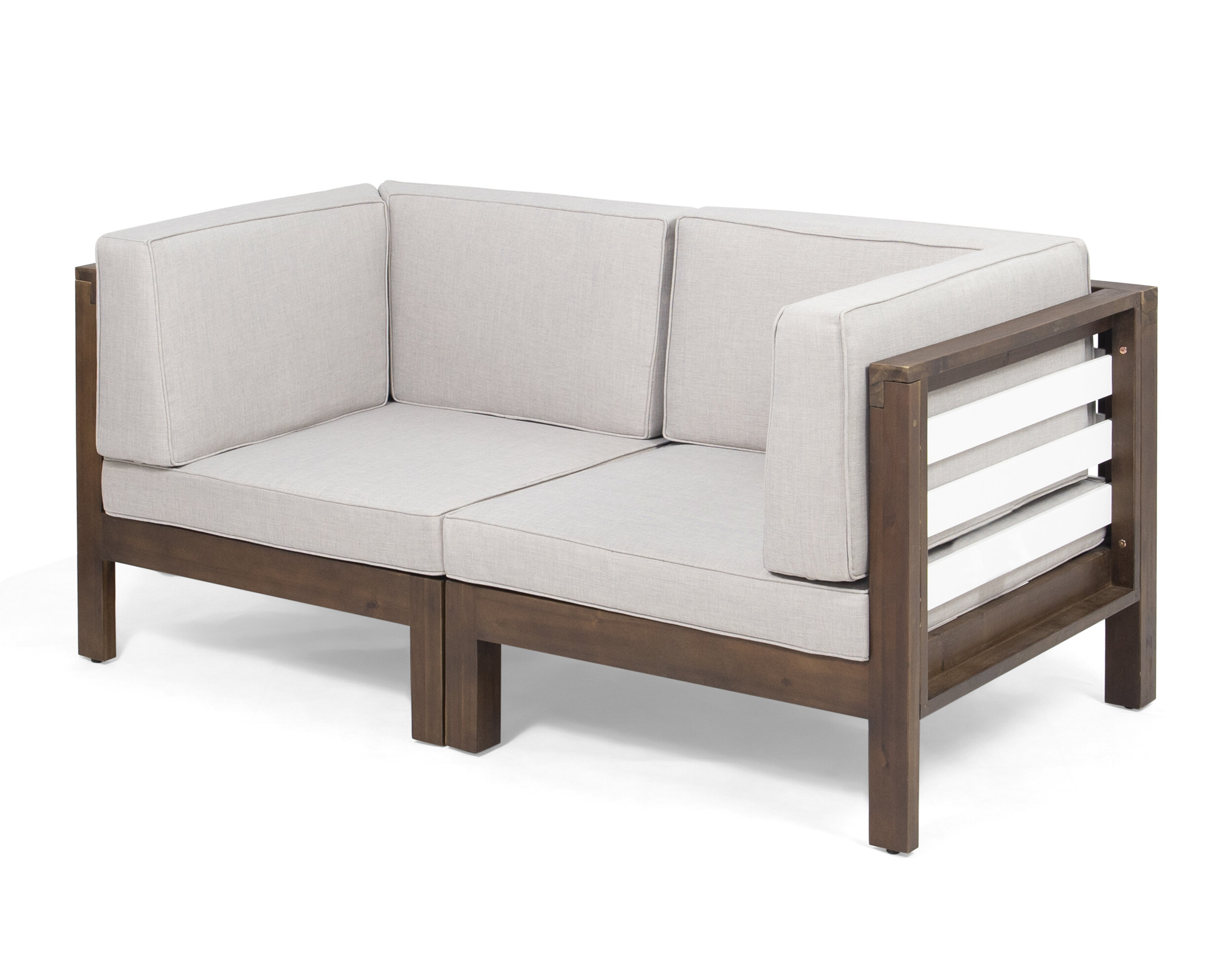 Most Recent Parks Outdoor Modular Loveseat With Cushions With Regard To Lyall Loveseats With Cushion (View 7 of 20)