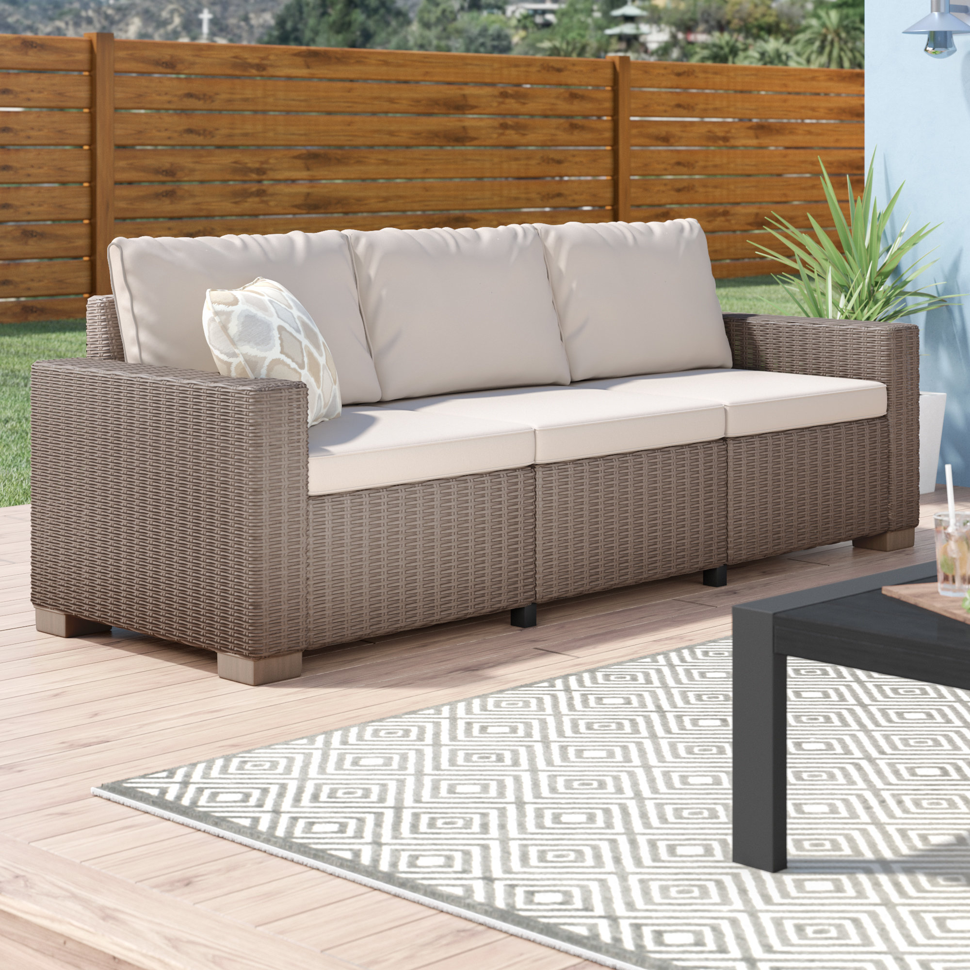 Most Recent Stallcup Patio Sofa With Cushions Inside Rowley Patio Sofas Set With Cushions (View 5 of 20)
