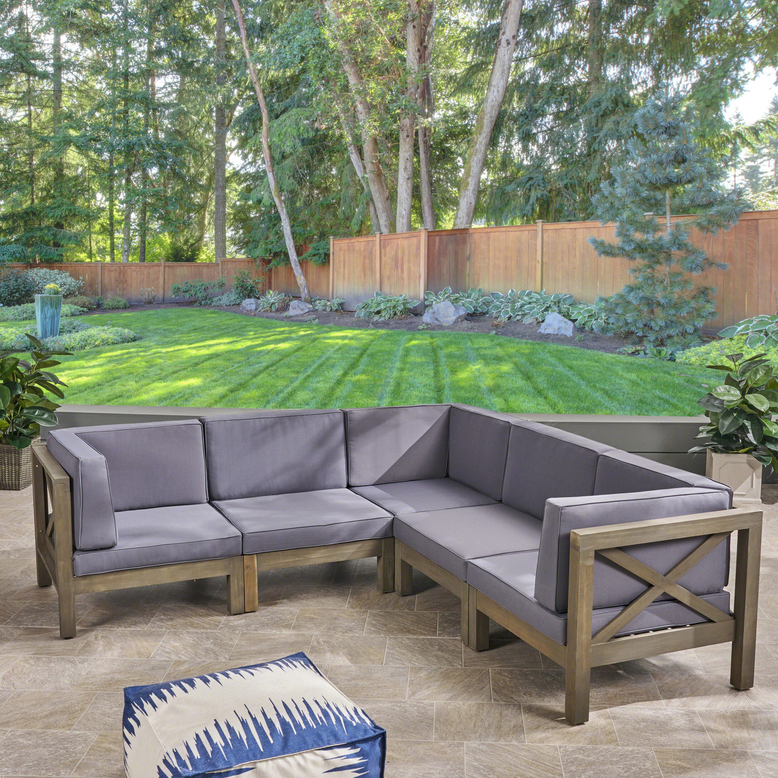 Most Recent Tim X Back Patio Loveseats With Cushions Within Ellison Patio Sectional With Cushions (View 17 of 20)