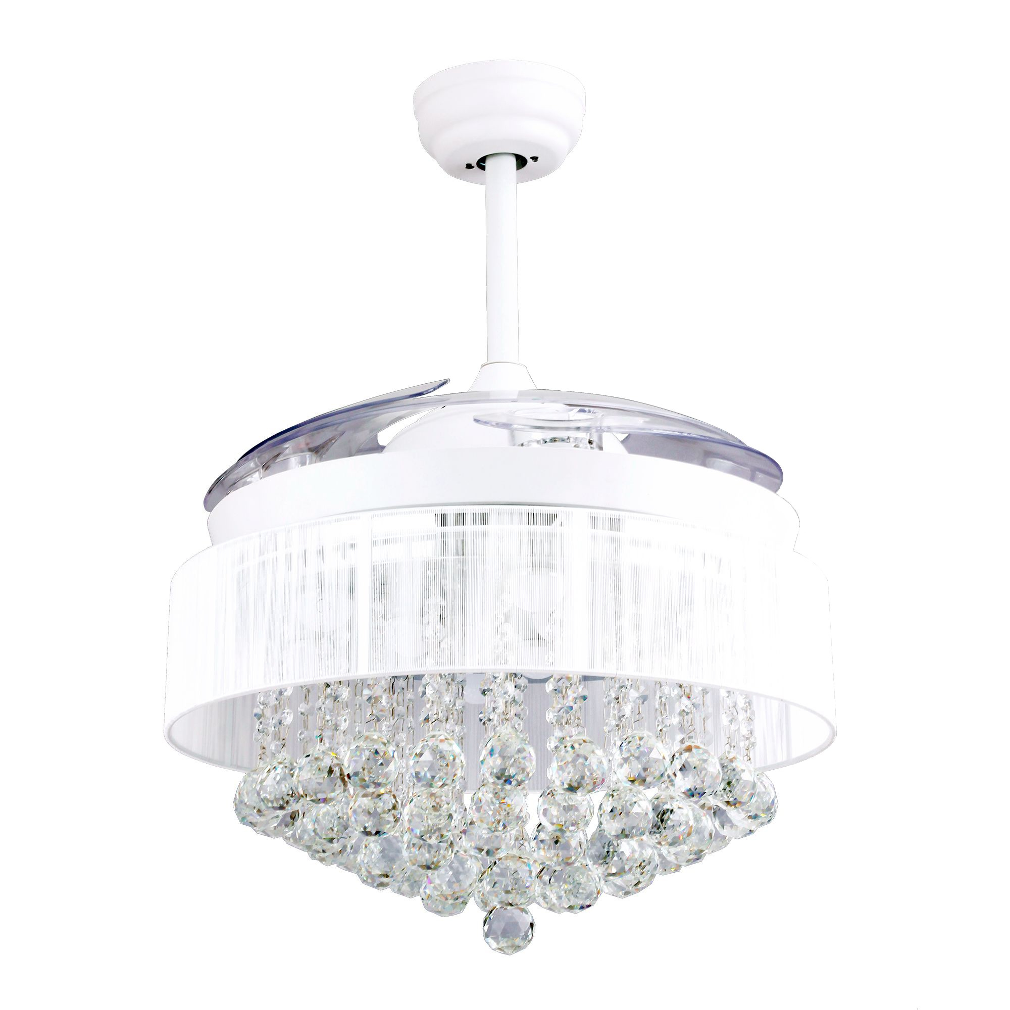 """Most Recently Released 46"""" Broxburne Modern Crystal Retractable Ceiling Fan With Led Lights And  Remote Control, White In Broxburne 4 Blade Led Ceiling Fans With Remote (View 17 of 20)"""