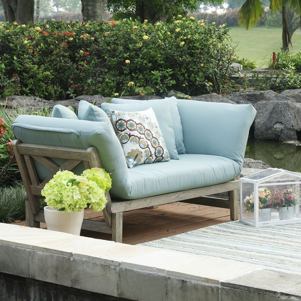 Most Recently Released Bullock Outdoor Wooden Loveseats With Cushions Throughout Outdoor Love Seat With Ottoman (View 11 of 20)