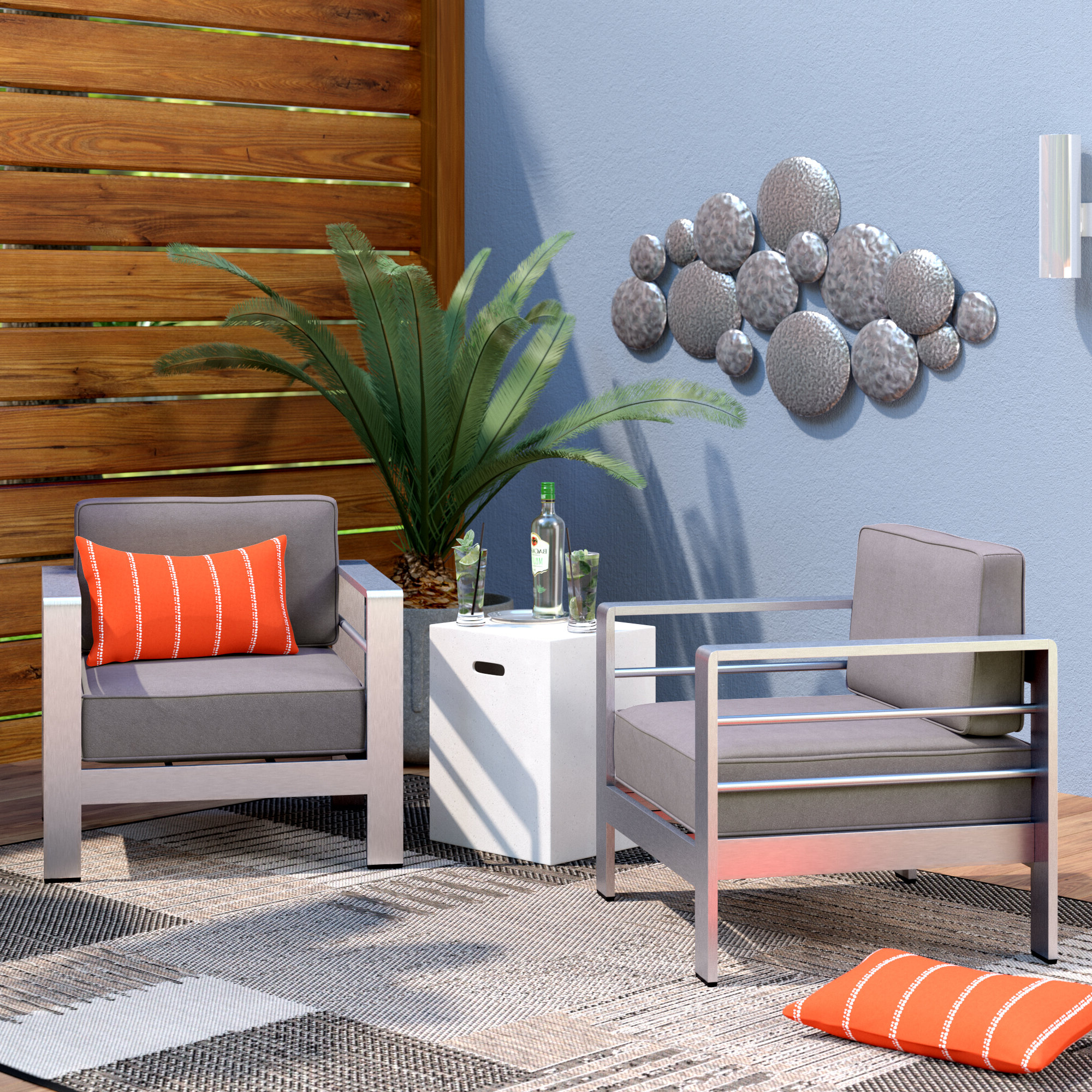 Most Recently Released Details About Brayden Studio Royalston Outdoor Aluminum Arm Chair With  Cushion Set Of 2 Intended For Royalston Patio Sofas With Cushions (View 10 of 20)