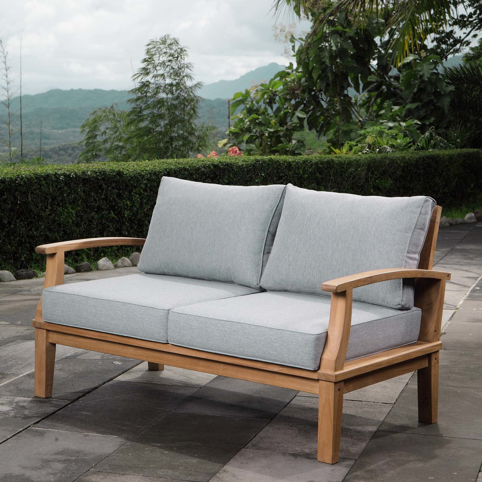 Most Recently Released Elaina Teak Loveseat With Cushions With Calila Teak Loveseats With Cushion (View 12 of 20)