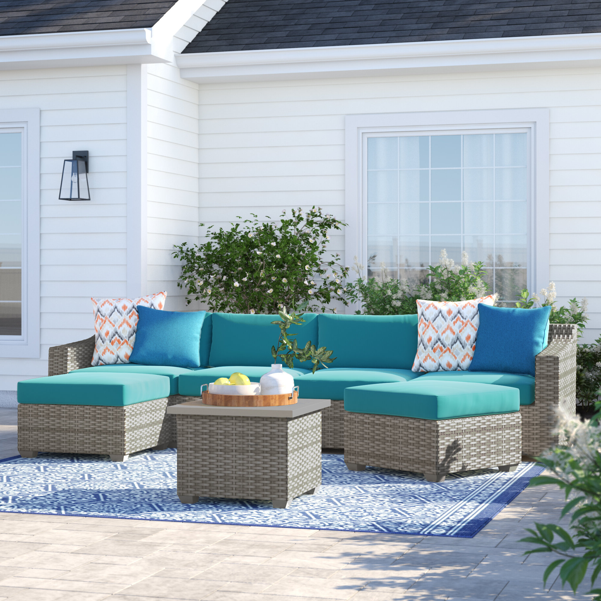 Most Recently Released Falmouth Patio Daybeds With Cushions In Falmouth 7 Piece Sectional Seating Group With Cushions (View 12 of 20)