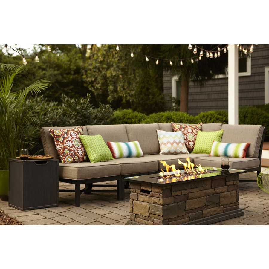 Most Recently Released Garden Treasures Palm City 5 Piece Black Steel Patio Pertaining To Tess Corner Living Patio Sectionals With Cushions (View 11 of 20)
