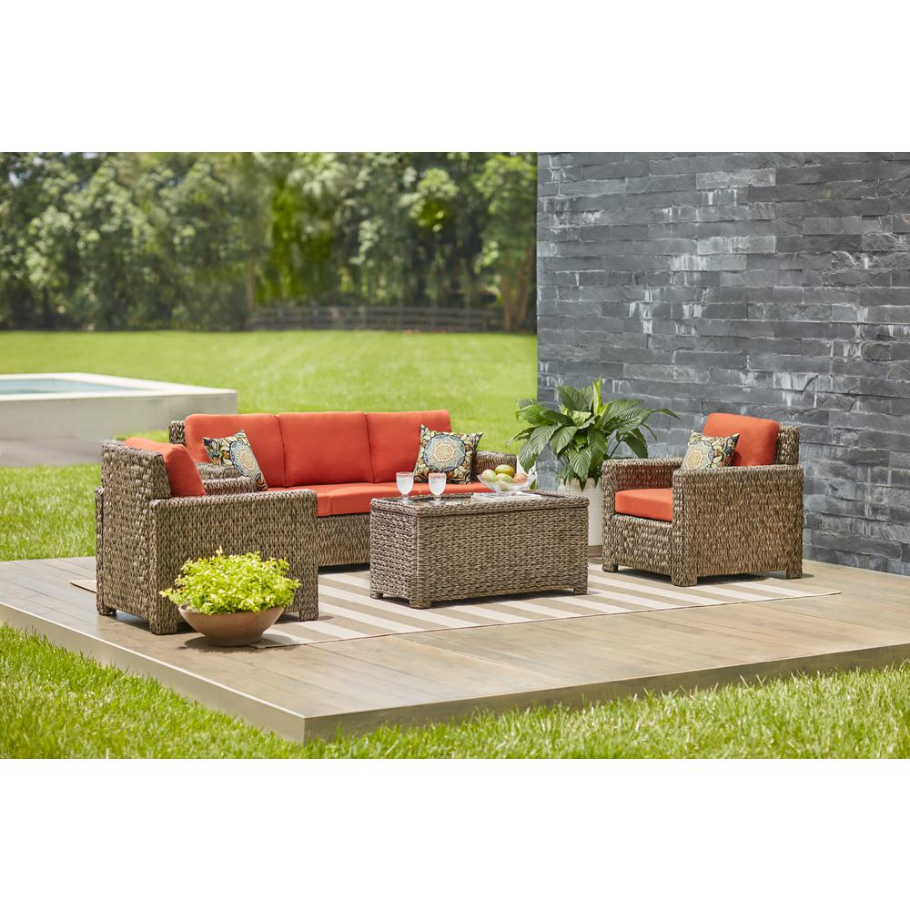 Most Recently Released Hampton Bay Laguna Point 4 Piece Brown All Weather Resin Wicker Patio Deep  Seating Set With Quarry Red Cushion For Laguna Outdoor Sofas With Cushions (View 15 of 20)
