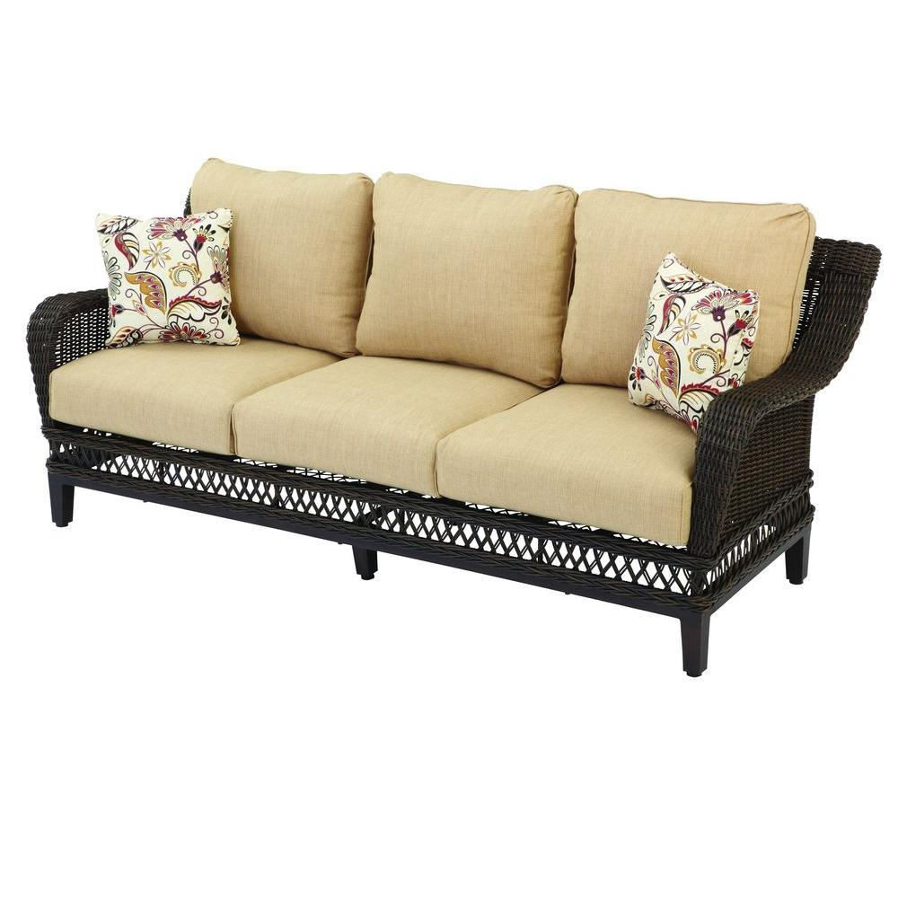 Most Recently Released Hampton Bay Woodbury Wicker Outdoor Patio Sofa With Textured Sand Cushion Throughout Patio Sofas With Cushions (View 8 of 20)