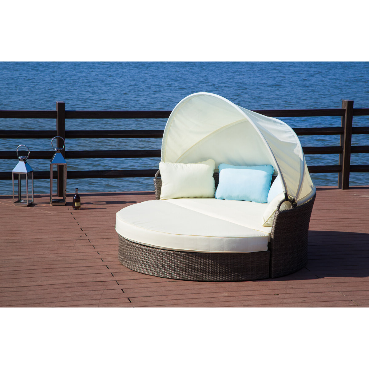 Most Recently Released Harlow Patio Daybed With Cushions Pertaining To Carrasco Patio Daybeds With Cushions (View 18 of 20)