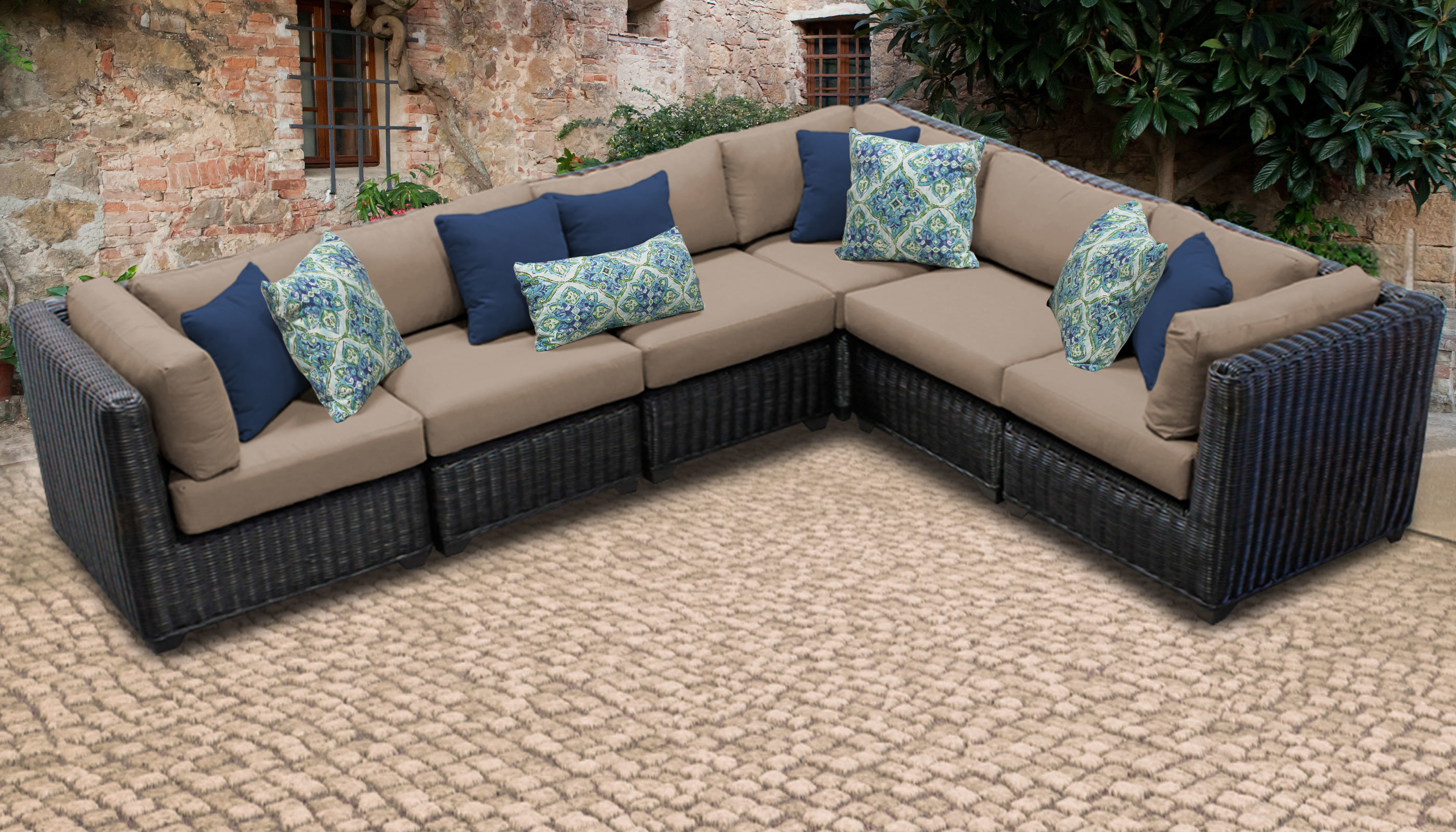 Most Recently Released Jamarion 4 Piece Sectionals With Sunbrella Cushions With Regard To Mejia Wicker Patio Sectional With Cushions (View 9 of 20)