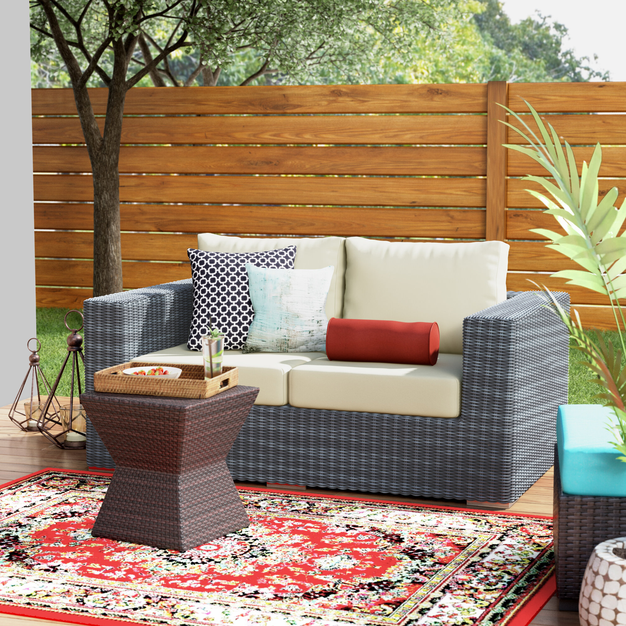 Most Recently Released Keiran Patio Daybeds With Cushions In Keiran Loveseat With Cushions (View 12 of 20)