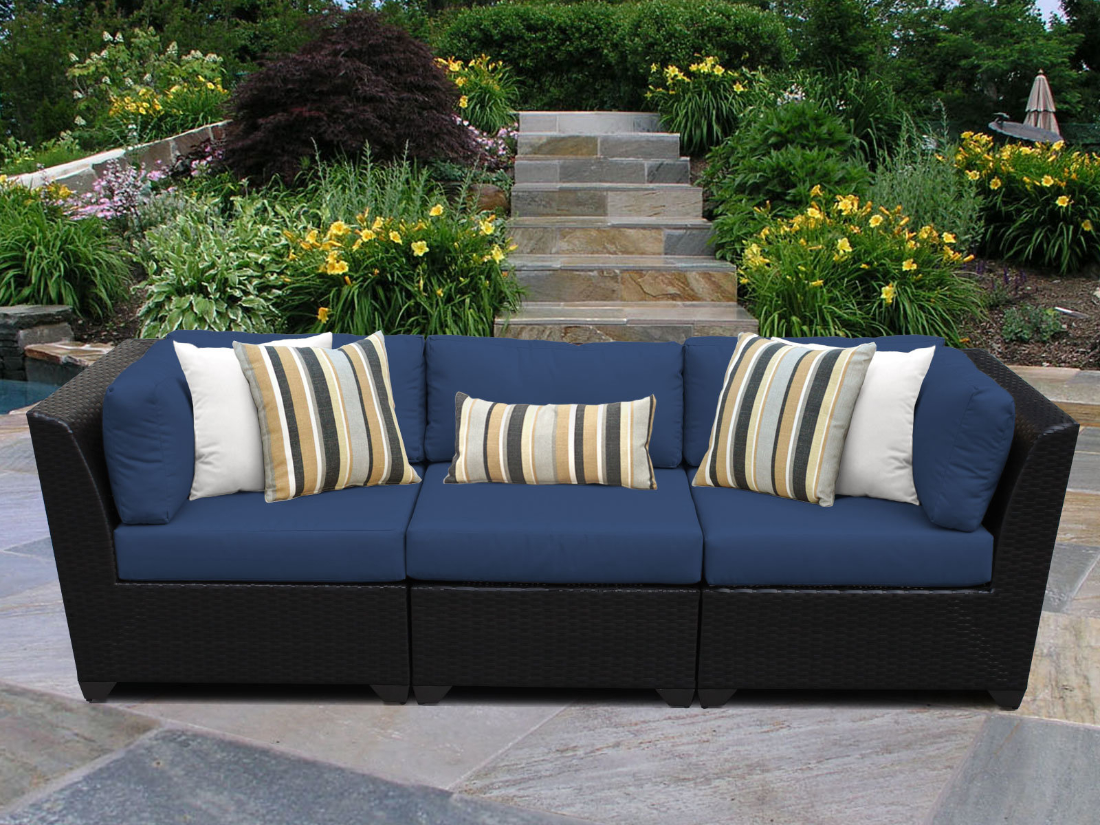 Most Recently Released Keiran Patio Sofas With Cushions With Regard To Camak Patio Sofa With Cushions (View 16 of 20)