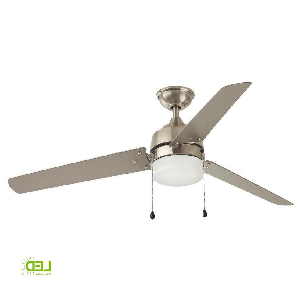 Most Recently Released Loft 3 Blade Ceiling Fans With Details About 60 In Brushed Nickel Ceiling Fan 3 Blades Integrated Led Light Indoor Outdoor (View 12 of 20)