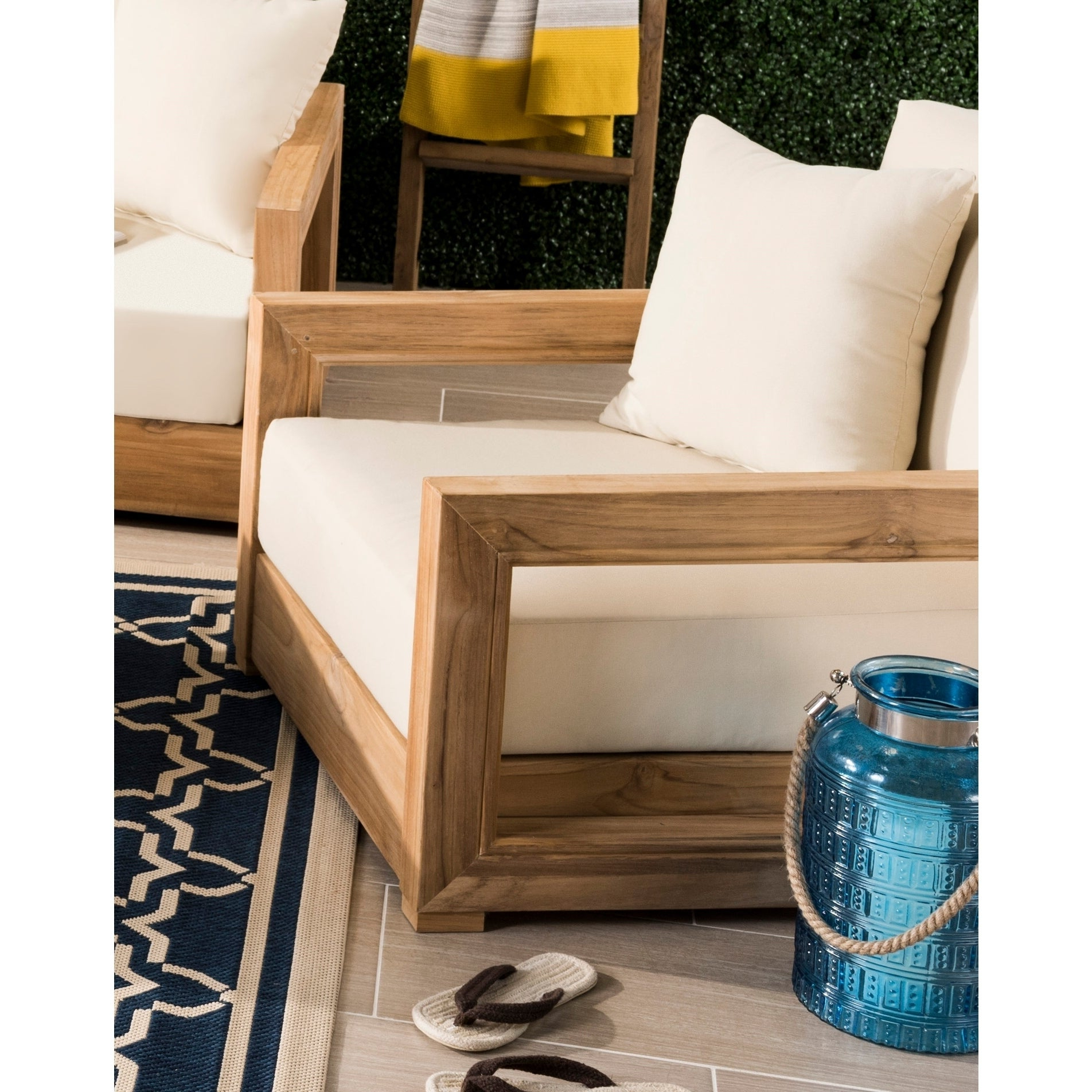 Most Recently Released Montford Teak Patio Sofas With Cushions Regarding Safavieh Couture Outdoor Montford Teak Brown / Beige Commercial Grade  Armchair (View 14 of 20)