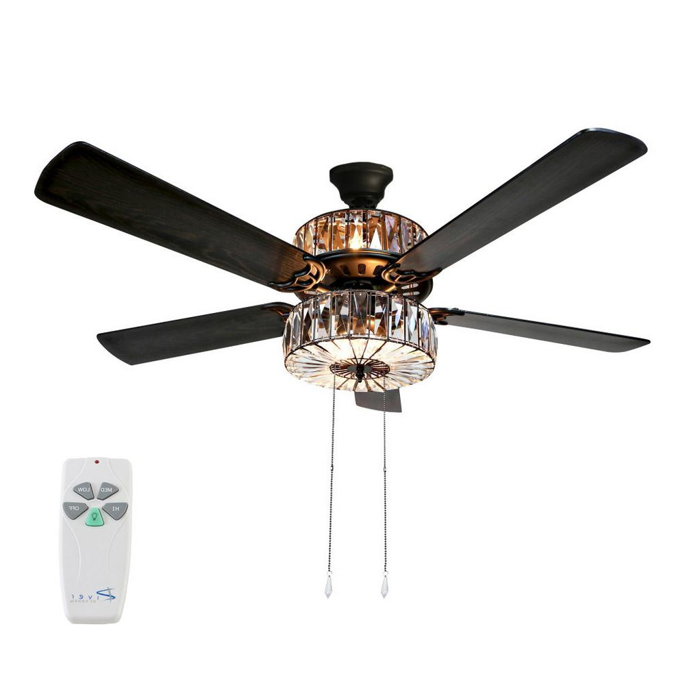 Featured Photo of Njie Caged Crystal 5 Blade Ceiling Fans