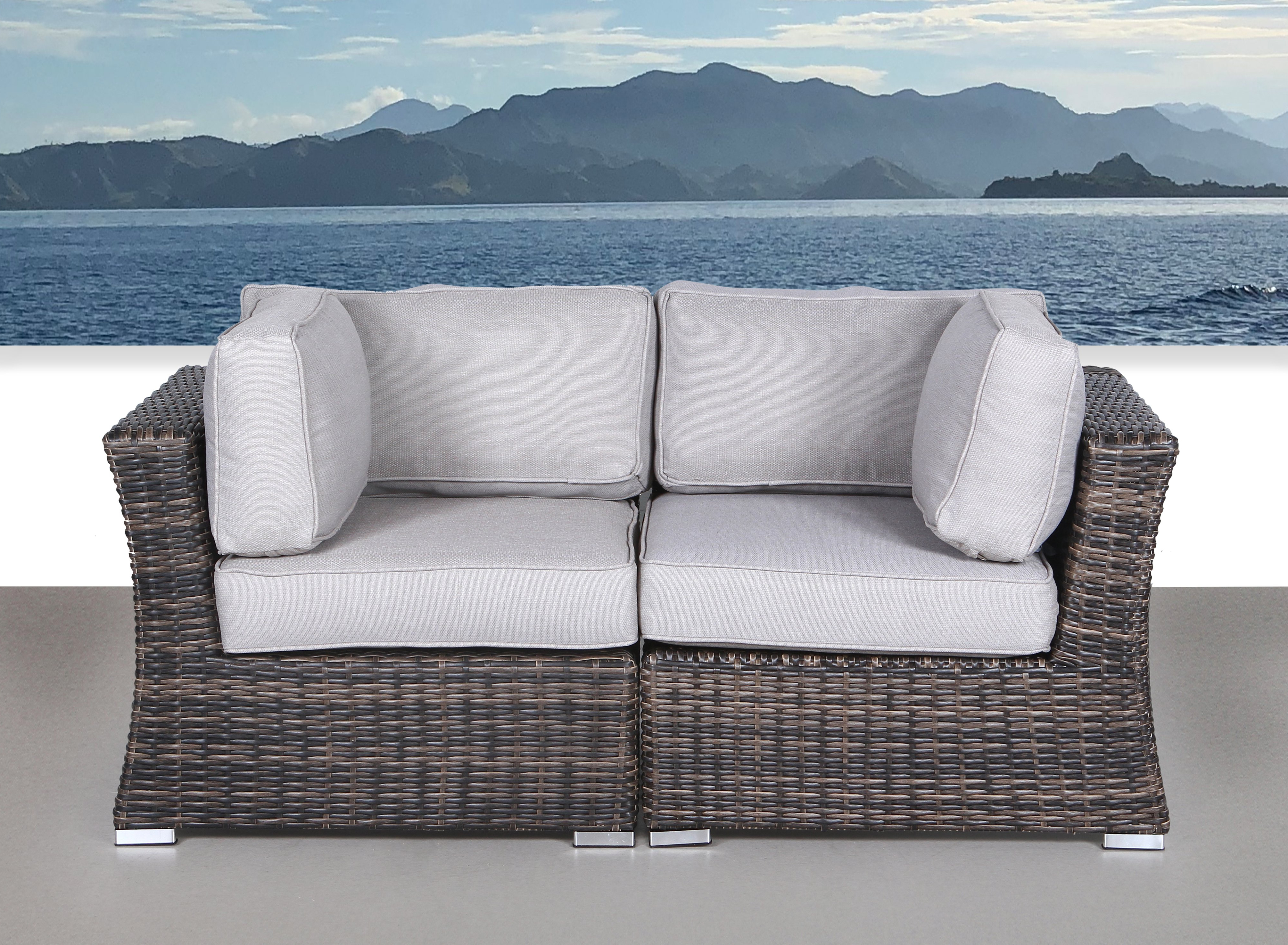 Most Recently Released Provencher Patio Loveseats With Cushions Within Huddleson Contemporary Loveseat With Cushion (View 7 of 20)