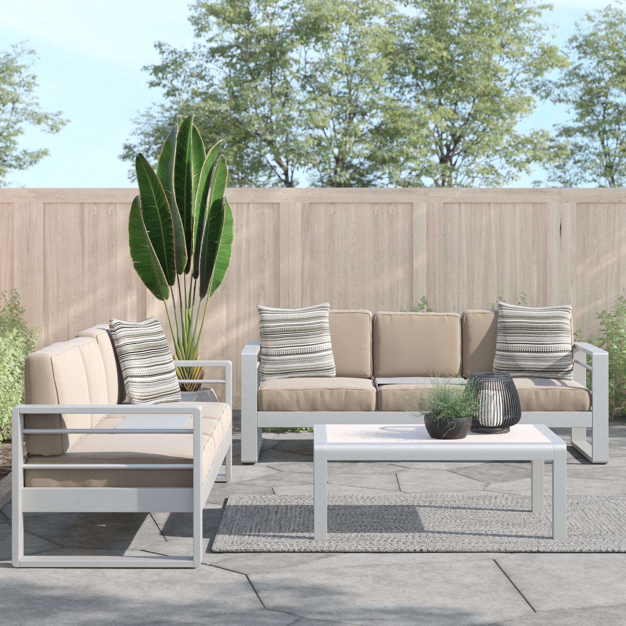 Most Recently Released Royalston 3 Piece Sofa Set Inside Royalston Patio Sofas With Cushions (View 11 of 20)