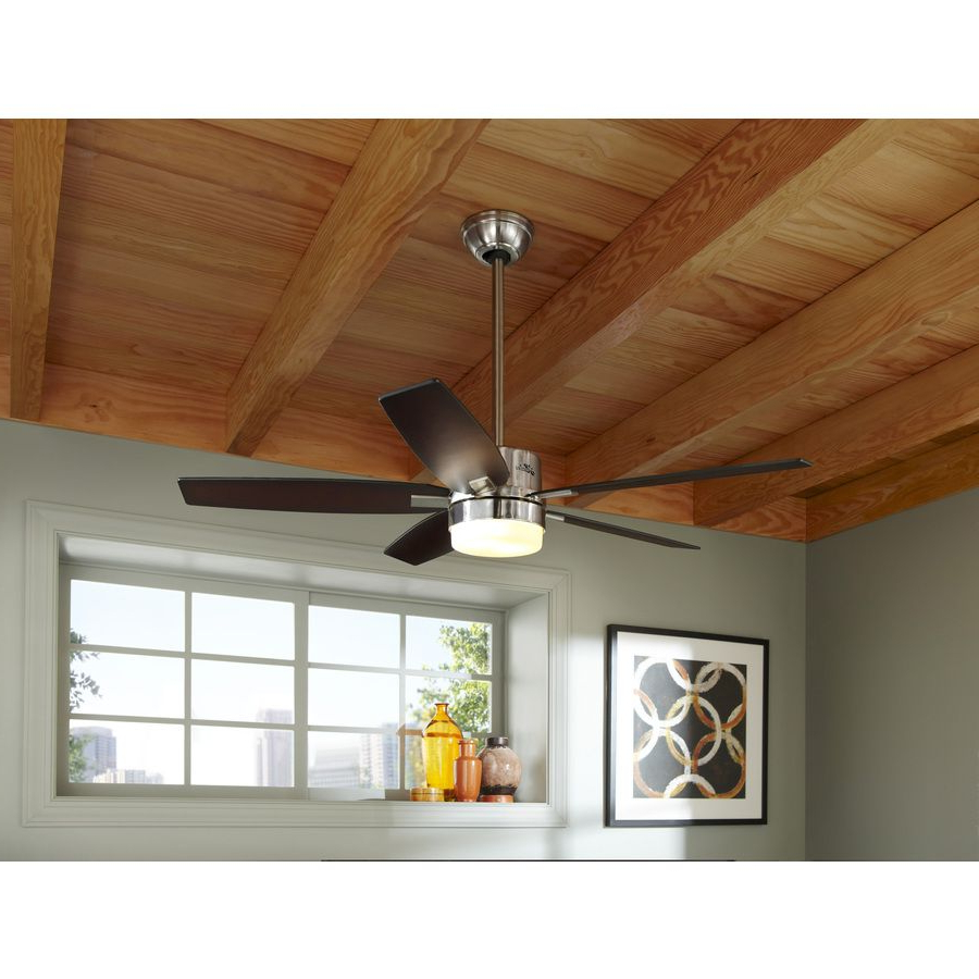 Most Recently Released Shop Hunter Windemere 54 In Brushed Nickel Downrod Mount For Windemere 5 Blade Ceiling Fans With Remote (View 11 of 20)