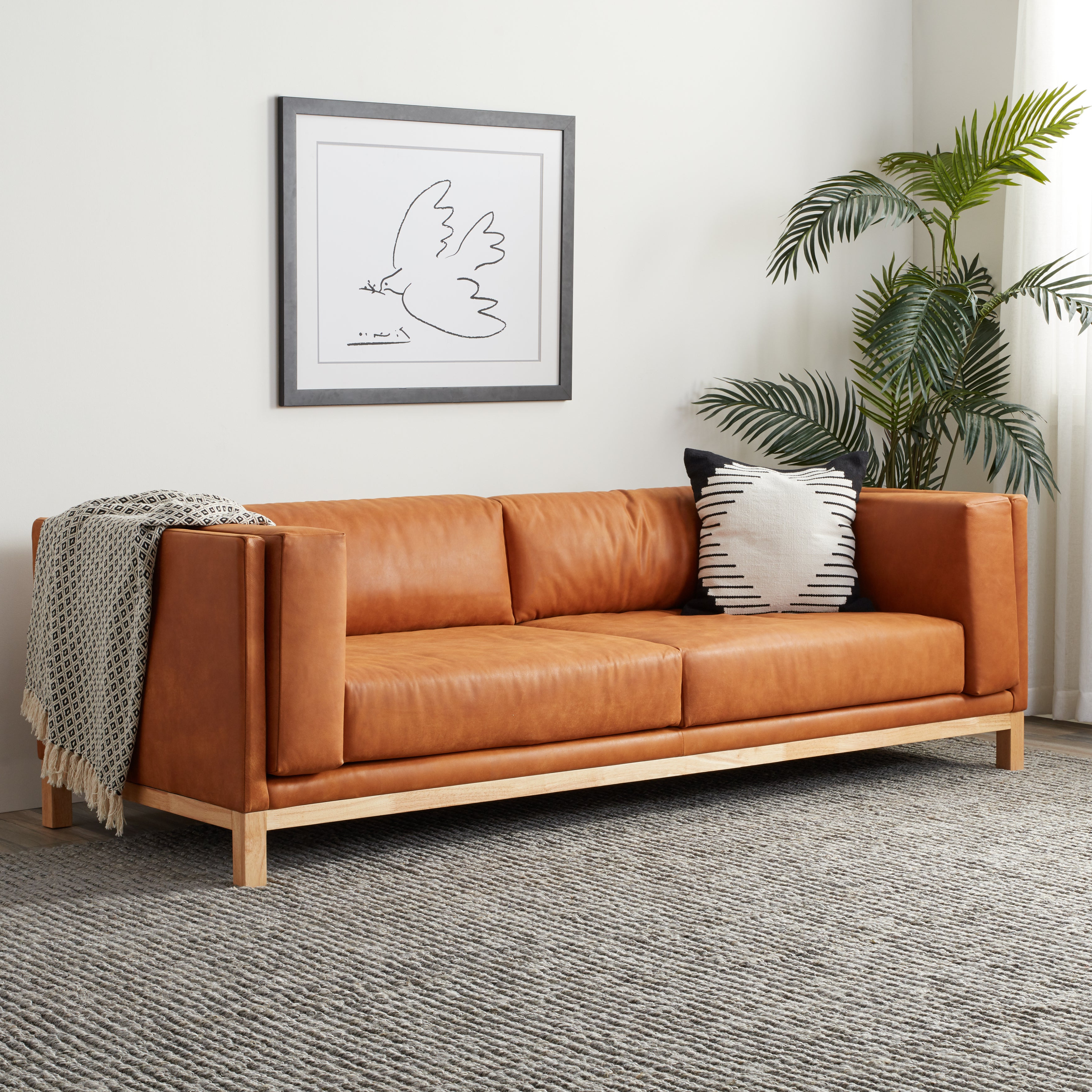 Most Recently Released Strick & Bolton Ellison Two Sofa In Mid Century Tan Within Ellison Patio Sectionals With Cushions (View 15 of 20)