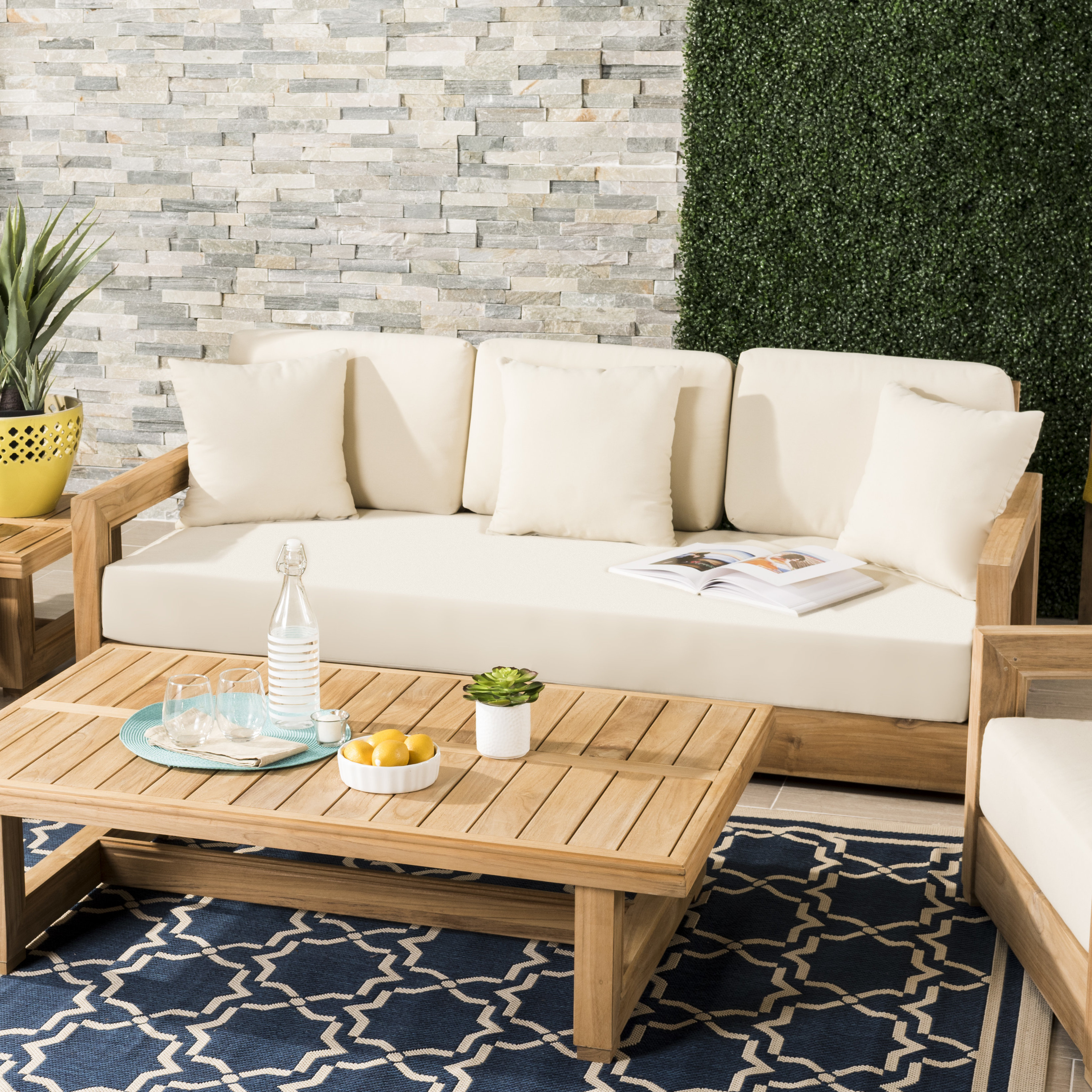 Most Recently Released Summerton Teak Loveseats With Cushions Pertaining To Montford Teak Loveseat With Cushions (View 9 of 20)