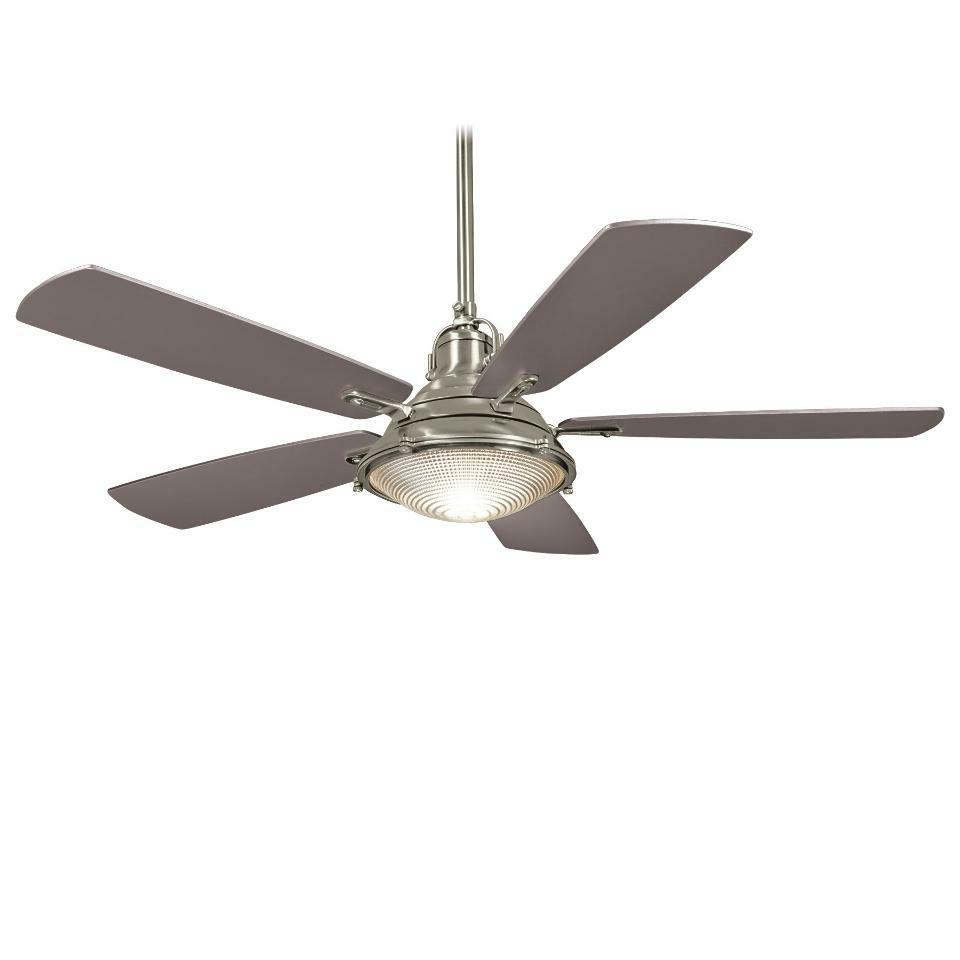 """Most Recently Released Symbio 5 Blade Led Ceiling Fans Within Brushed Nickel Groton 56"""" 5 Blade Ceiling Fan With Silver (View 12 of 20)"""