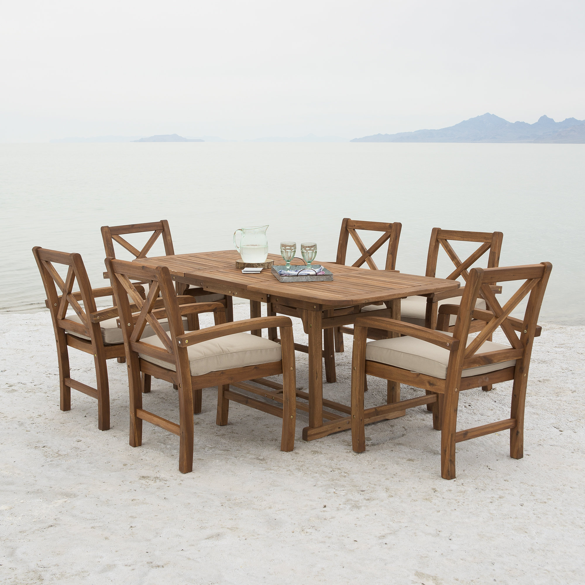 Most Recently Released Tim X Back Patio 7 Piece Dining Set With Cushions Inside Tim X Back Patio Loveseats With Cushions (View 11 of 20)