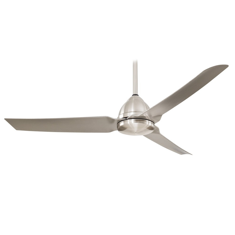 "Most Up To Date 54"" Minka Aire Java Brushed Nickel Wet Ceiling Fan – F753 Pertaining To Java 3 Blade Outdoor Ceiling Fans (View 13 of 20)"