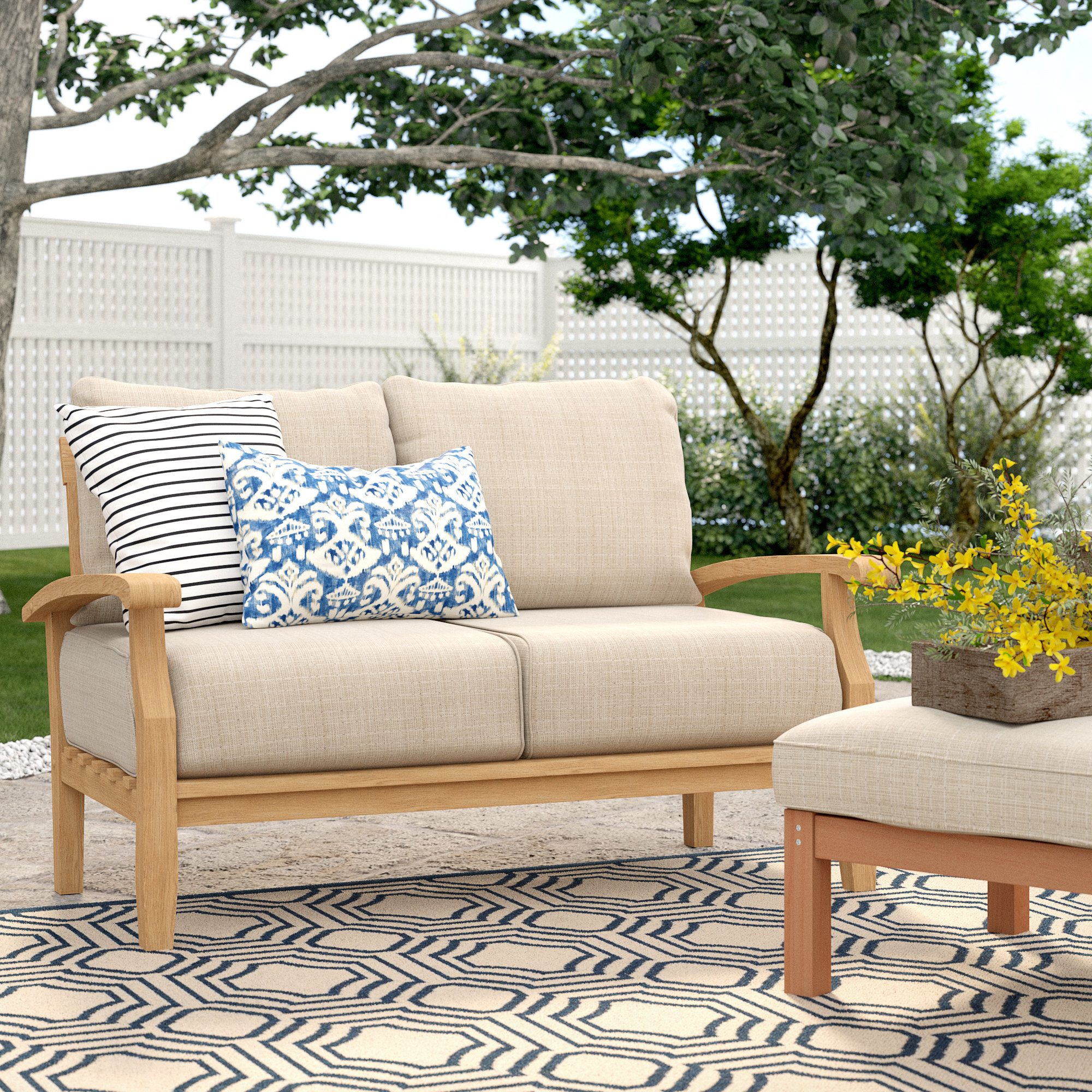 Most Up To Date Alburg Loveseats With Cushions Intended For Summerton Teak Loveseat With Cushions (View 4 of 25)