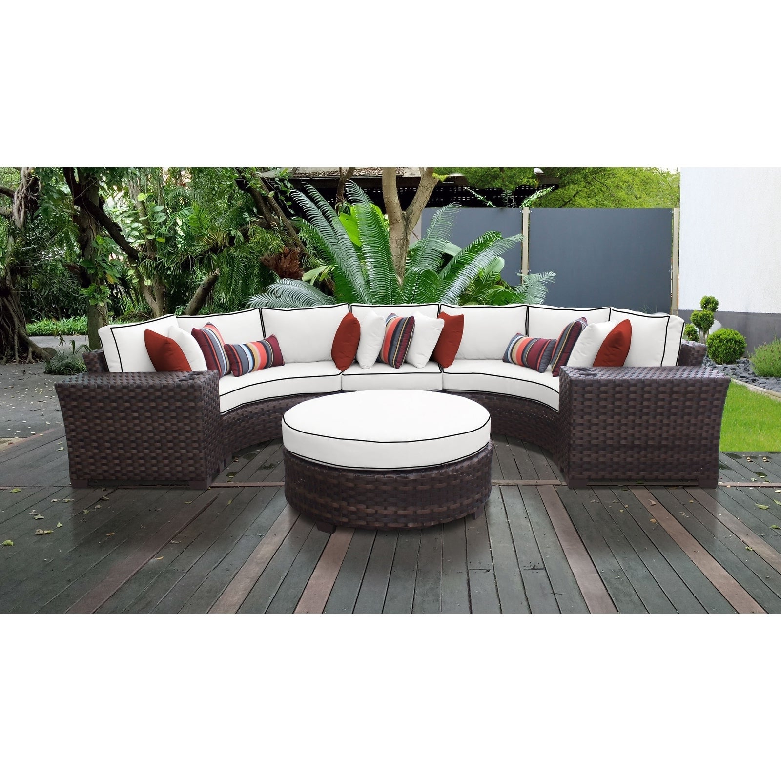 Most Up To Date Camak Patio Sofas With Cushions With Regard To Kathy Ireland River Brook 6 Piece Outdoor Wicker Patio Furniture Set 06C (View 15 of 20)