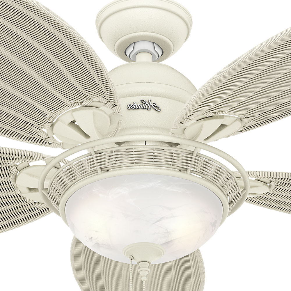 "Most Up To Date Caribbean Breeze 5 Blade Ceiling Fans For Hunter 54"" Caribbean Breeze Textured White Ceiling Fan With (View 14 of 20)"