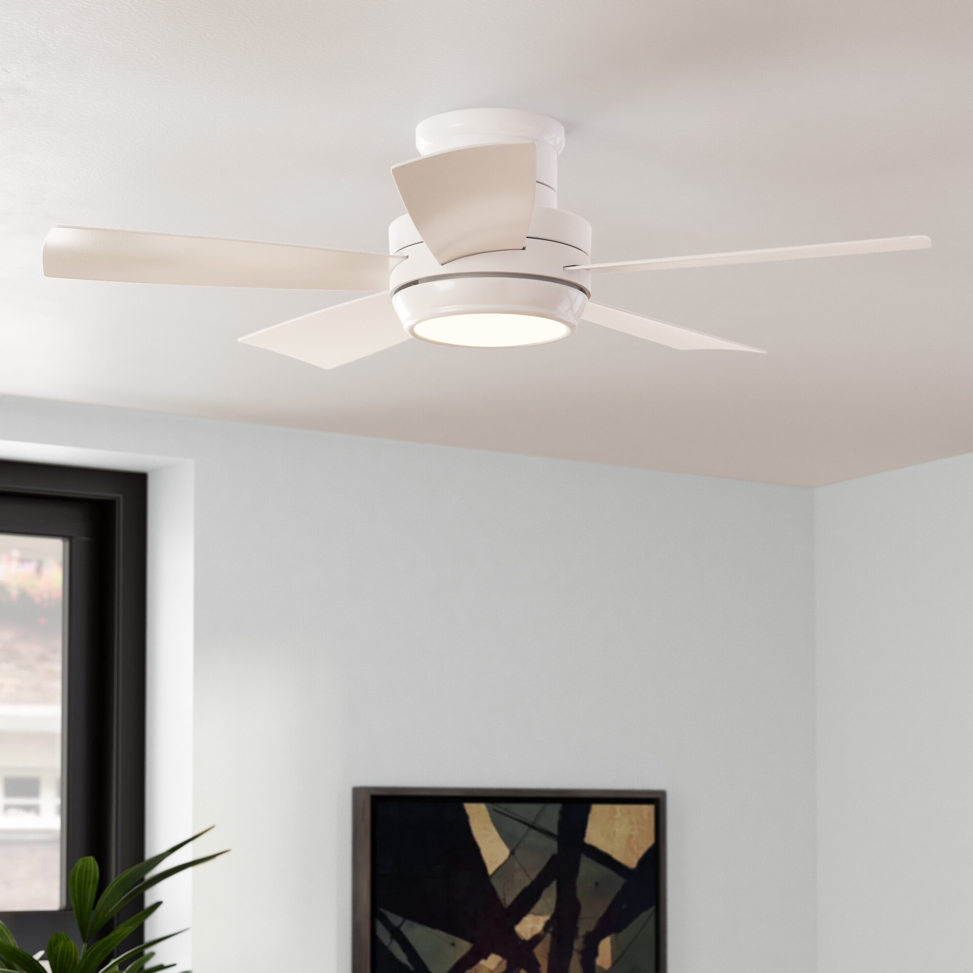 "Most Up To Date Concept Ii 3 Blade Led Ceiling Fans With Remote With Regard To 44"" Cedarton Hugger 5 Blade Led Ceiling Fan, Light Kit Included (View 19 of 20)"