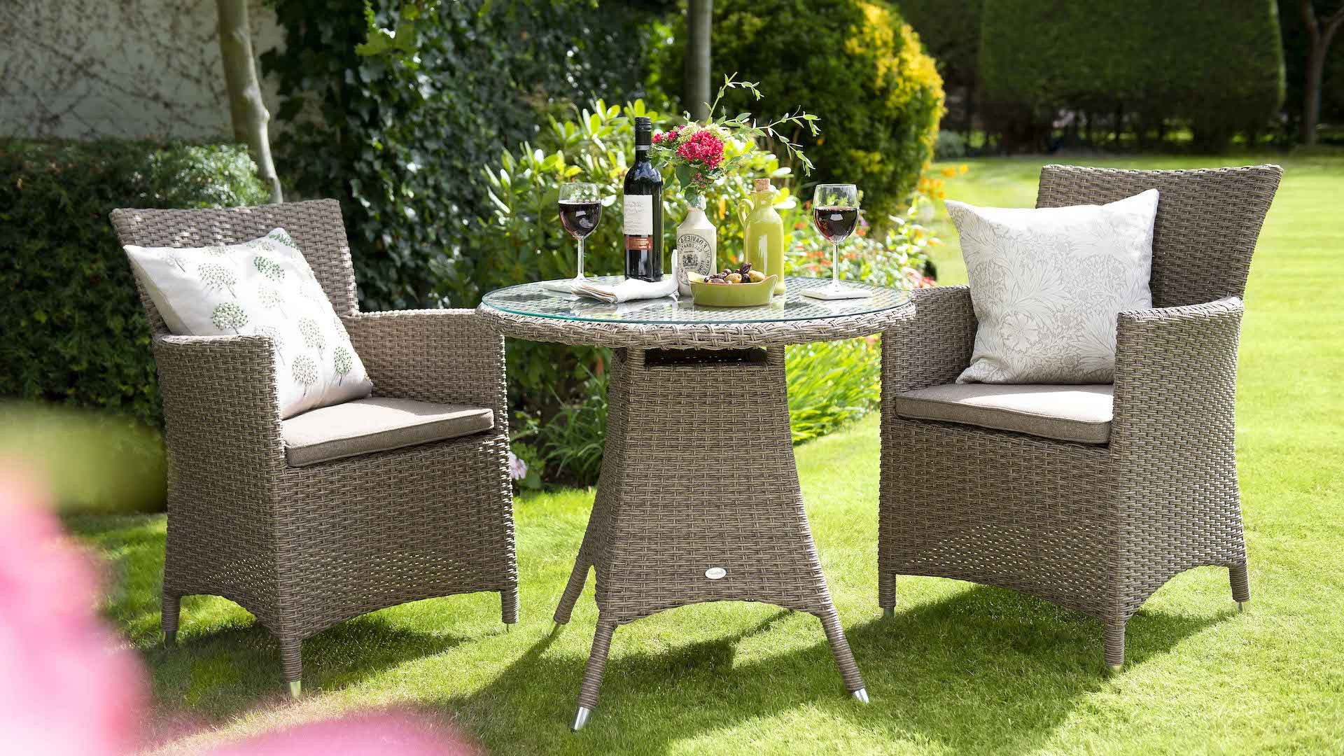 Most Up To Date Hartman Madison Bistro Set (Sepia Weave & Henna Cushion) Inside Rowley Patio Sofas Set With Cushions (View 6 of 20)