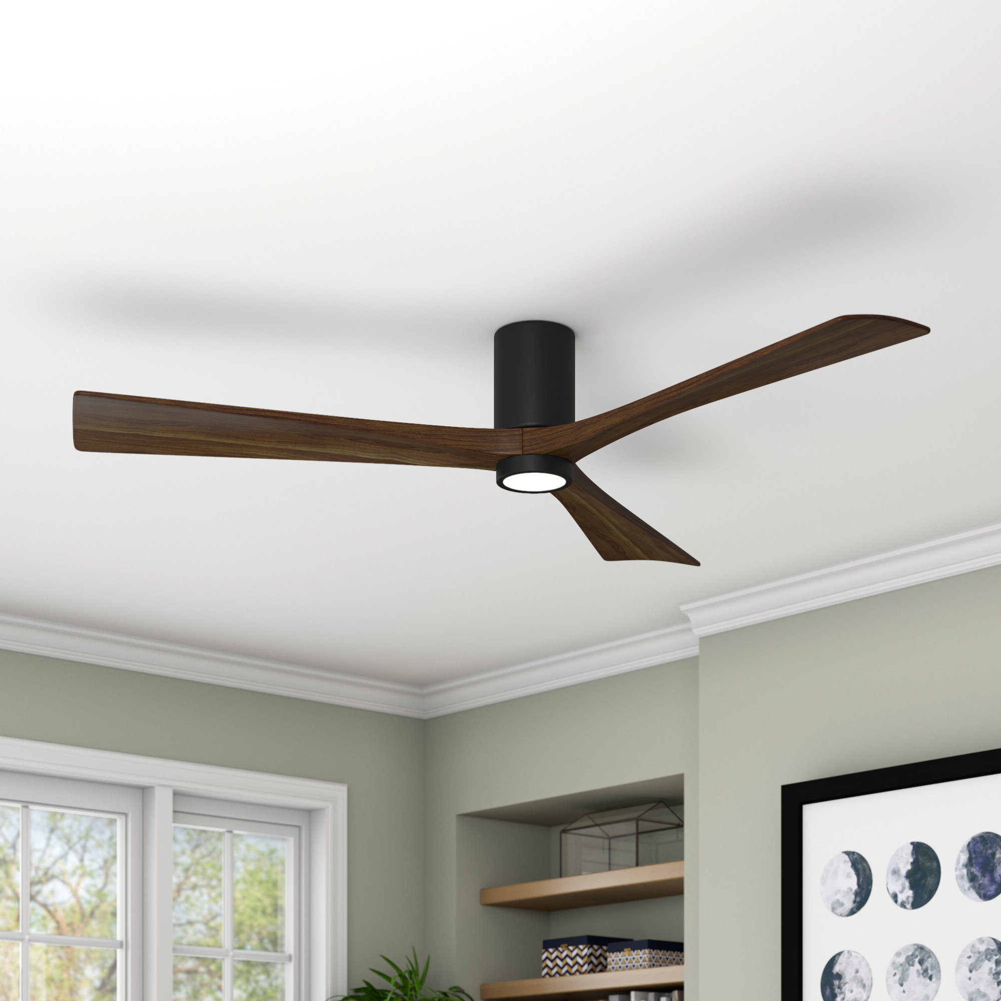 "Most Up To Date Hedin 3 Blade Hugger Ceiling Fans Inside 60"" Rosalind 3 Blade Hugger Ceiling Fan With Wall Remote And Light Kit (View 10 of 20)"
