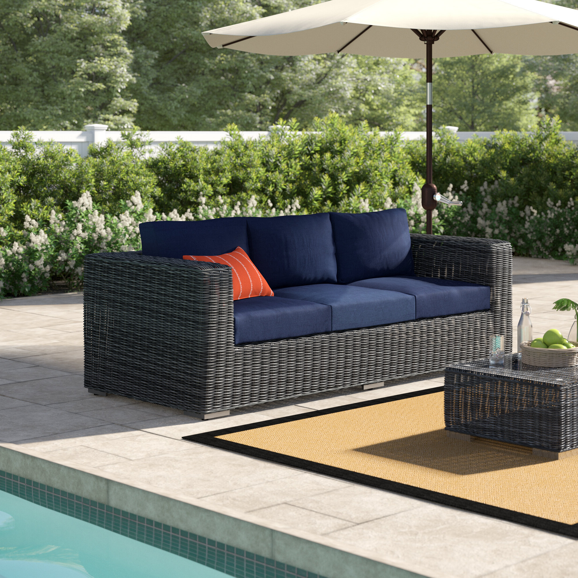 Most Up To Date Keiran Patio Daybeds With Cushions Intended For Keiran Patio Sofa With Cushions (View 17 of 20)