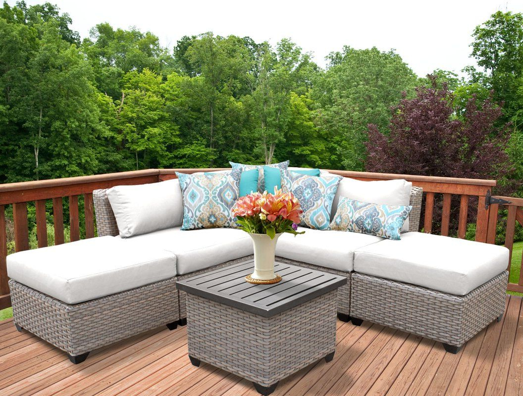 Most Up To Date Meeks 6 Piece Rattan Sectional Seating Group With Cushions Pertaining To Meeks Patio Sofas With Cushions (View 11 of 20)