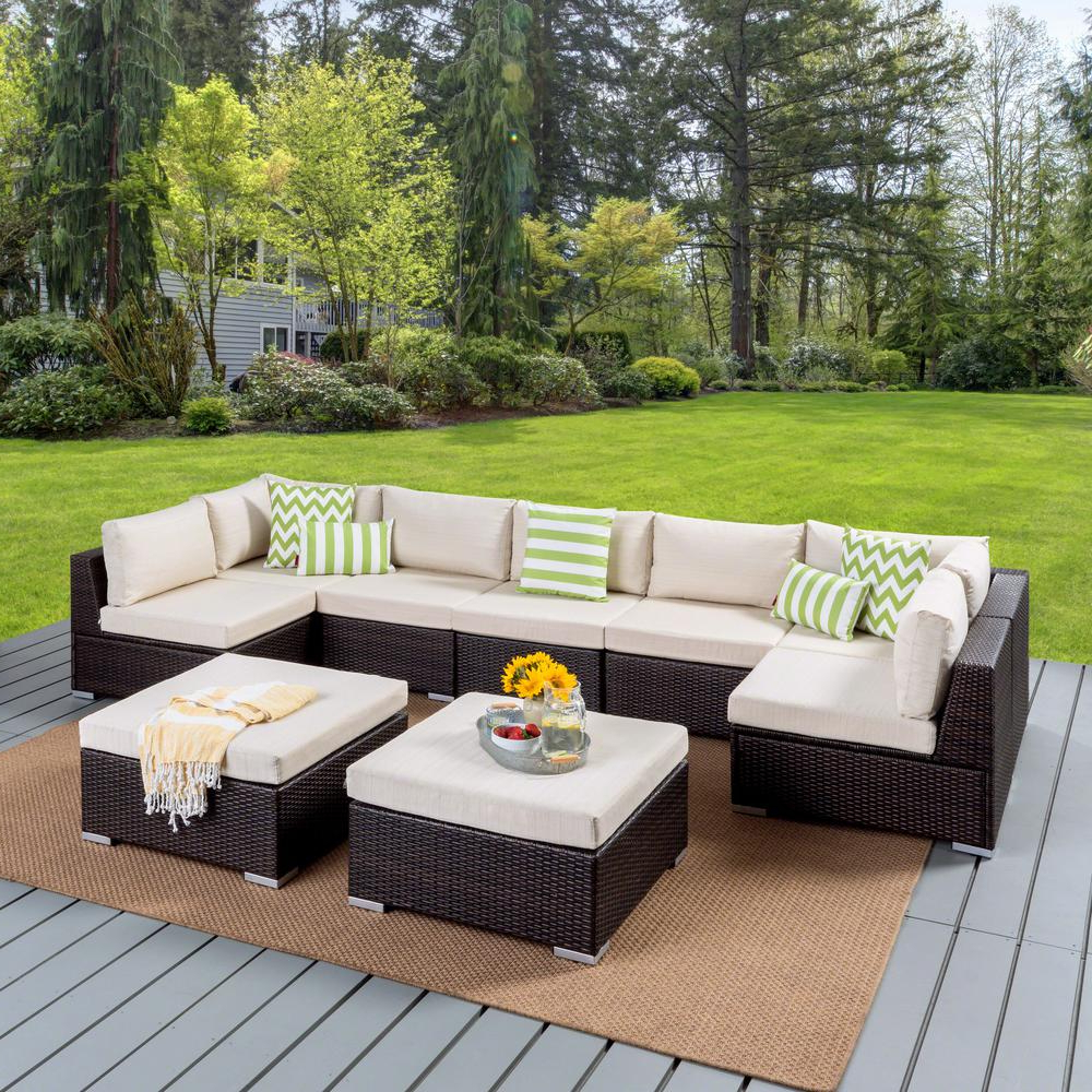 Most Up To Date Noble House Nolan Multibrown 9 Piece Wicker Outdoor Sectional Set With  Beige Cushions Regarding Nolen Patio Sectionals With Cushions (View 3 of 20)