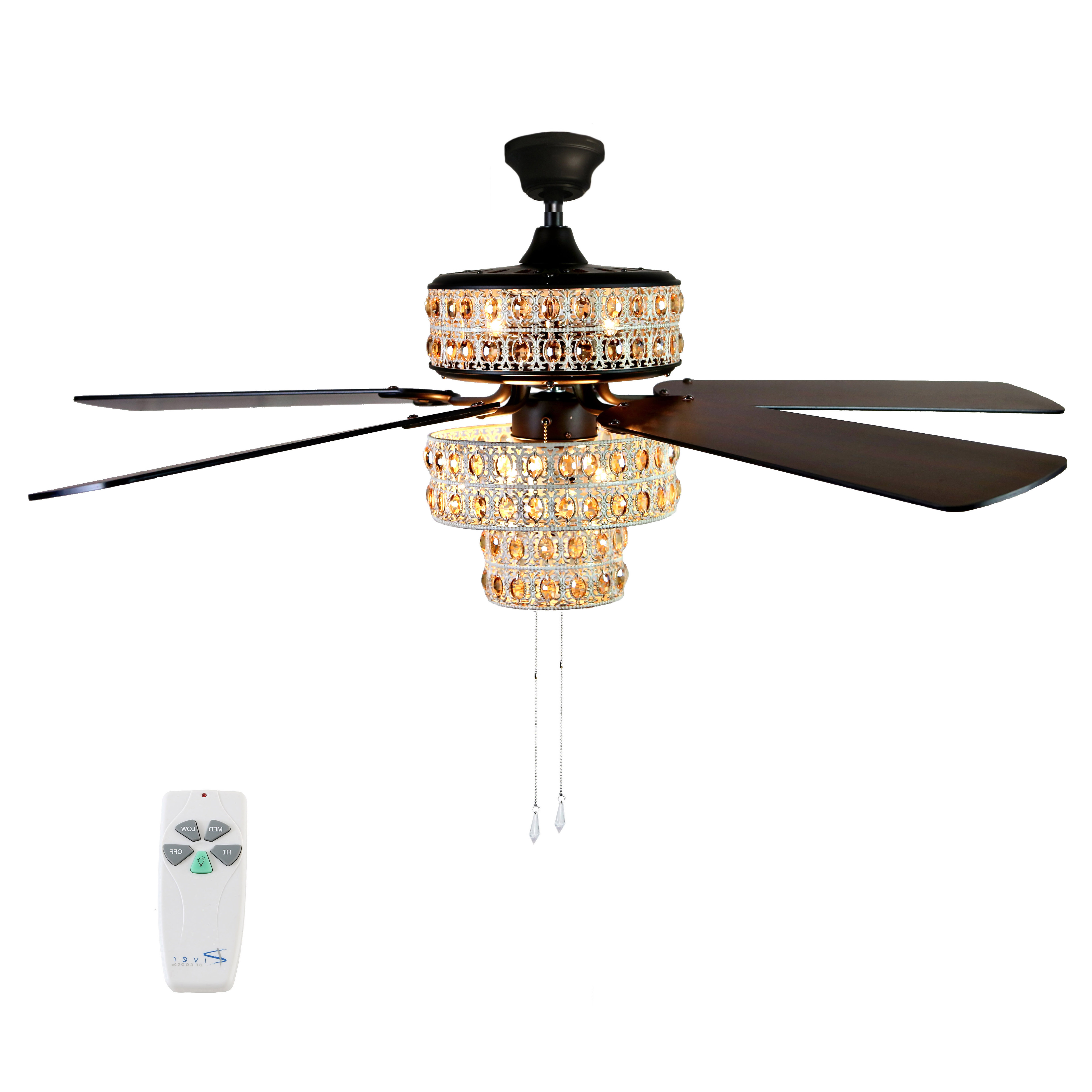 "Most Up To Date River Of Goods 52""w Bella Crystal 5 Blade Ceiling Fan With Remote Regarding Tibuh Punched Metal Crystal 5 Blade Ceiling Fans With Remote (View 6 of 20)"