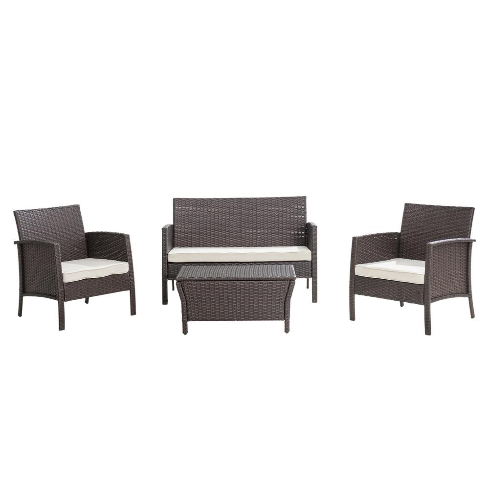Most Up To Date Sunjoy Mosca 4 Piece Wicker Patio Conversation Set With White Cushions In Mosca Patio Loveseats With Cushions (View 16 of 20)