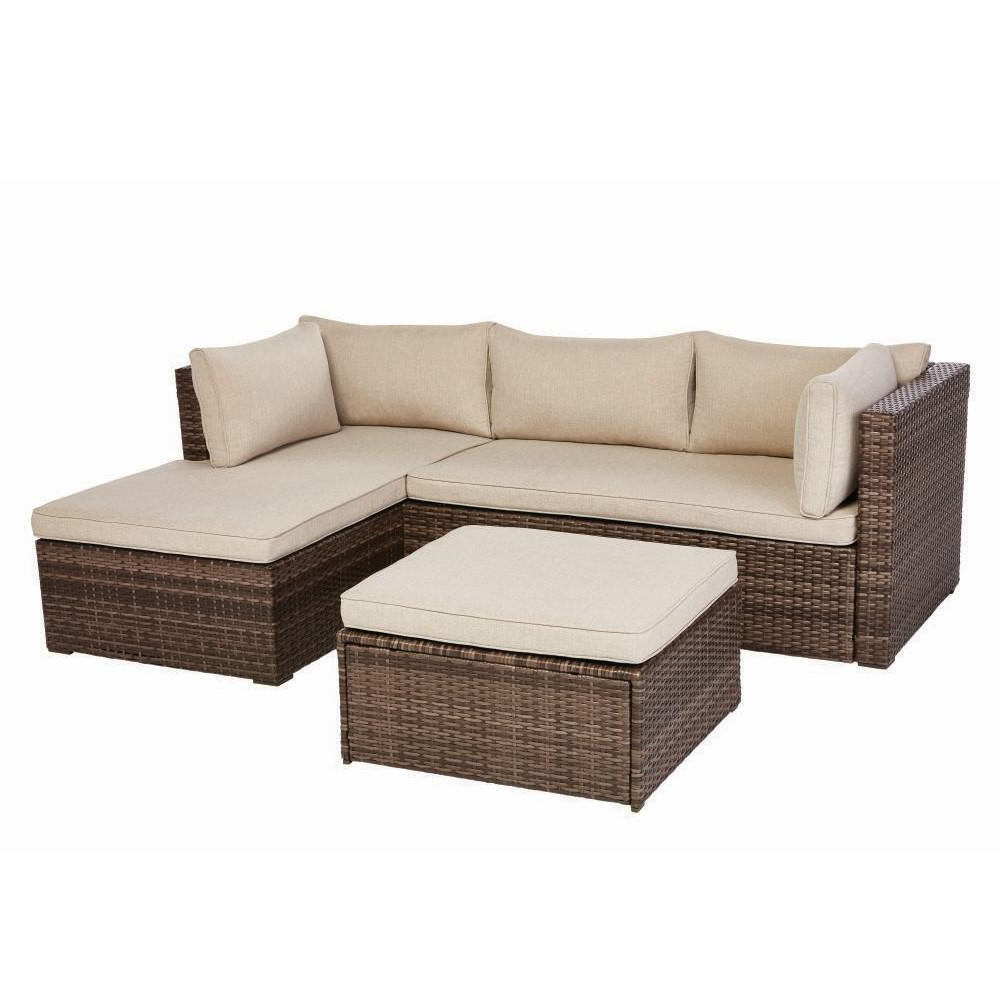 Most Up To Date Valley Peak Low Profile 3 Piece All Weather Wicker Outdoor Regarding Clifford Patio Sofas With Cushions (View 12 of 20)