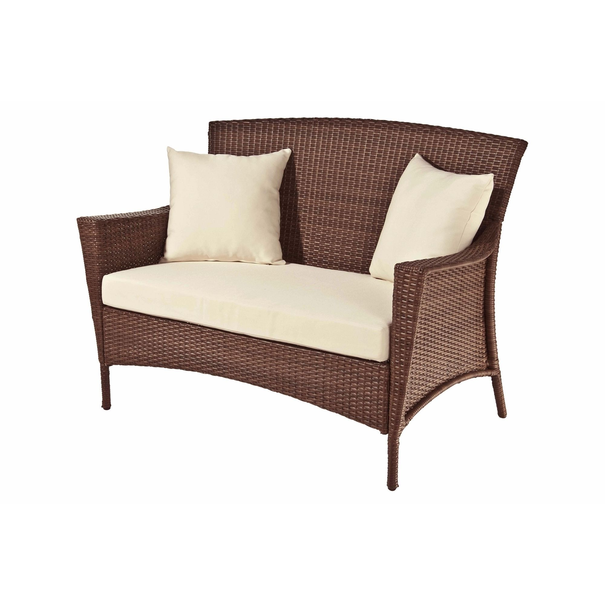 Mullenax Outdoor Loveseats With Cushions Throughout Most Popular Panama Jack Key Biscayne Woven Loveseat With Cushion (View 10 of 20)