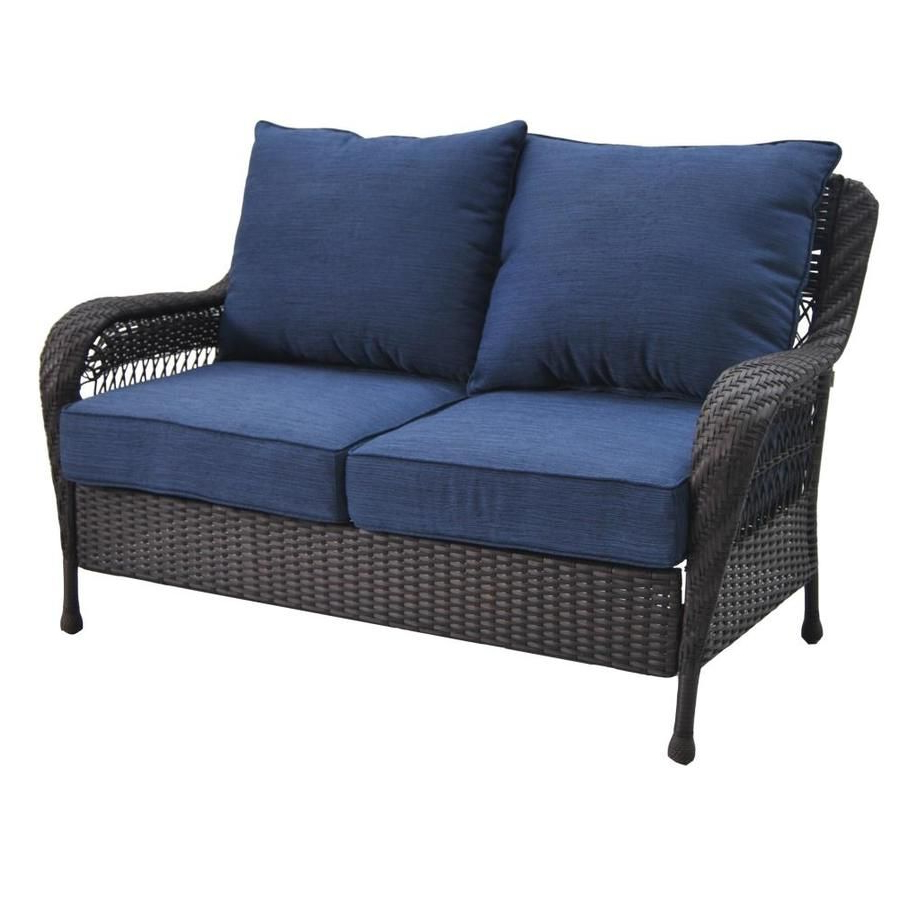 Mullenax Outdoor Loveseats With Cushions Within Most Popular Glenlee Solid Cushion Brown Steel Wicker Loveseat (View 7 of 20)