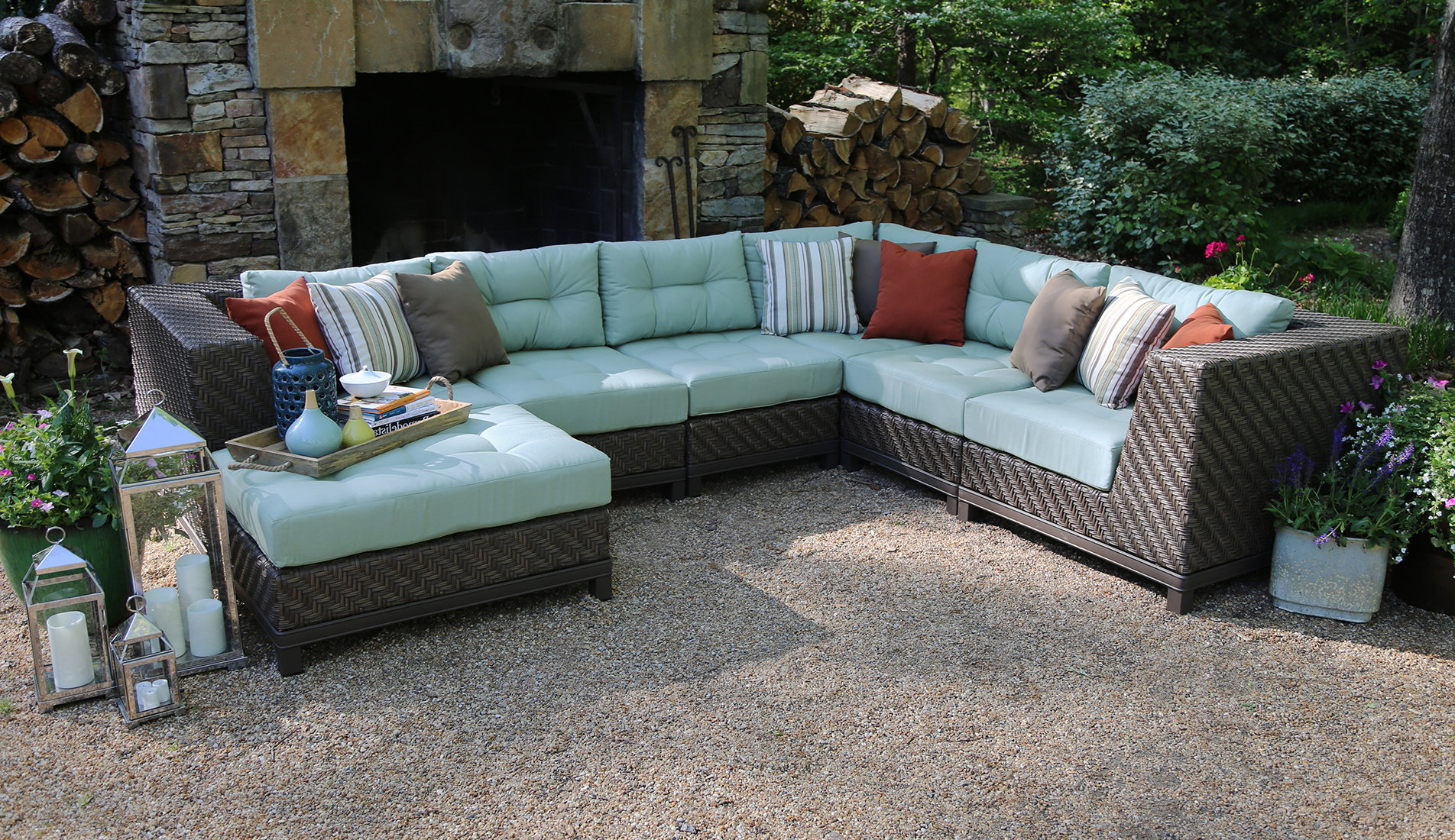 Nabors Patio Sectional With Sunbrella Cushions For Most Recently Released Madison Avenue Patio Sectionals With Sunbrella Cushions (View 15 of 20)