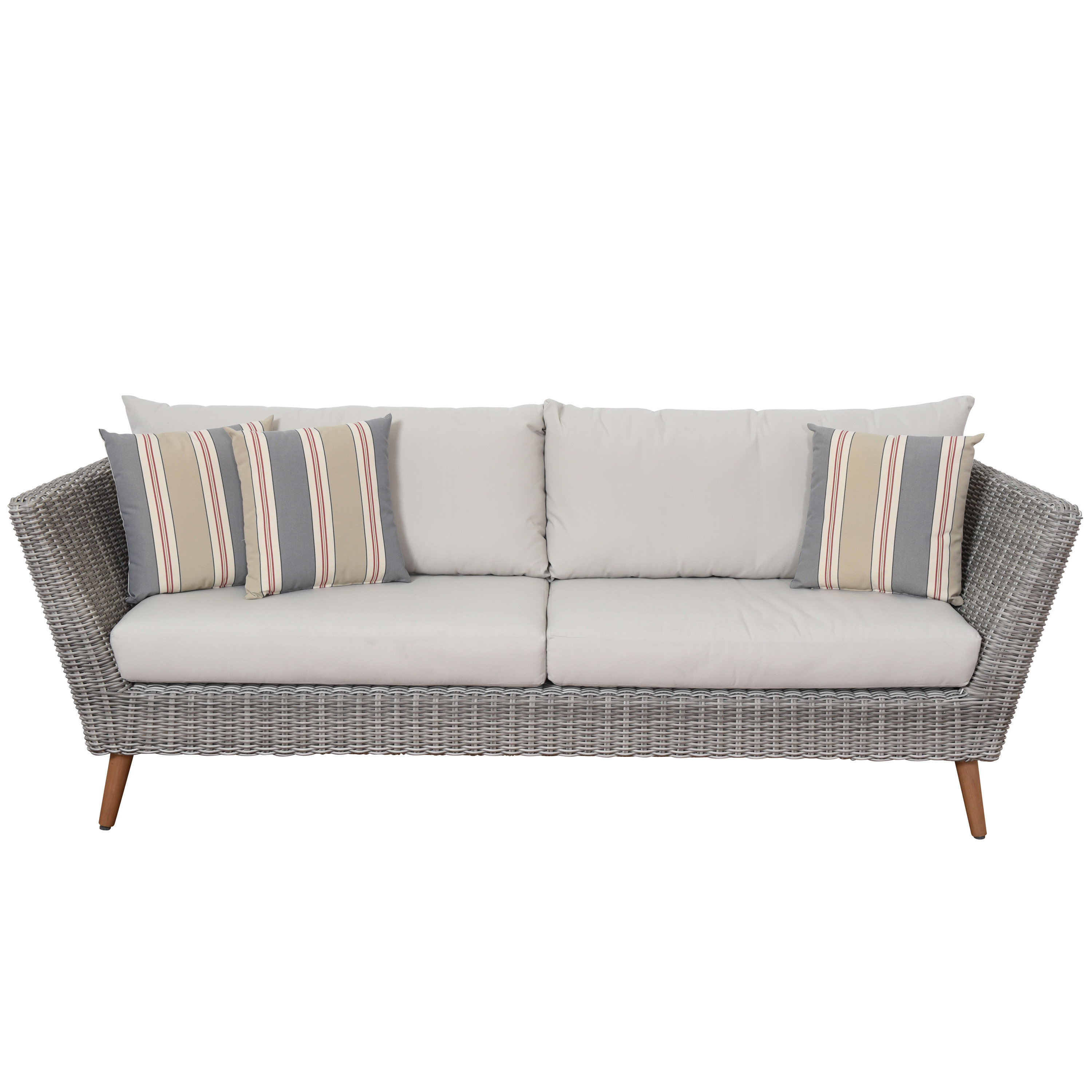 Newbury Patio Sofa With Cushions For Newest Antonia Teak Patio Sectionals With Cushions (View 23 of 25)