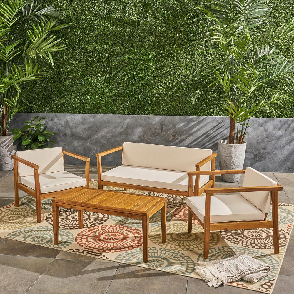 Newbury Patio Sofas With Cushions Intended For Recent Noble House Newbury Teak Brown 4 Piece Wood Patio Conversation Set With  Beige Cushions (View 14 of 20)