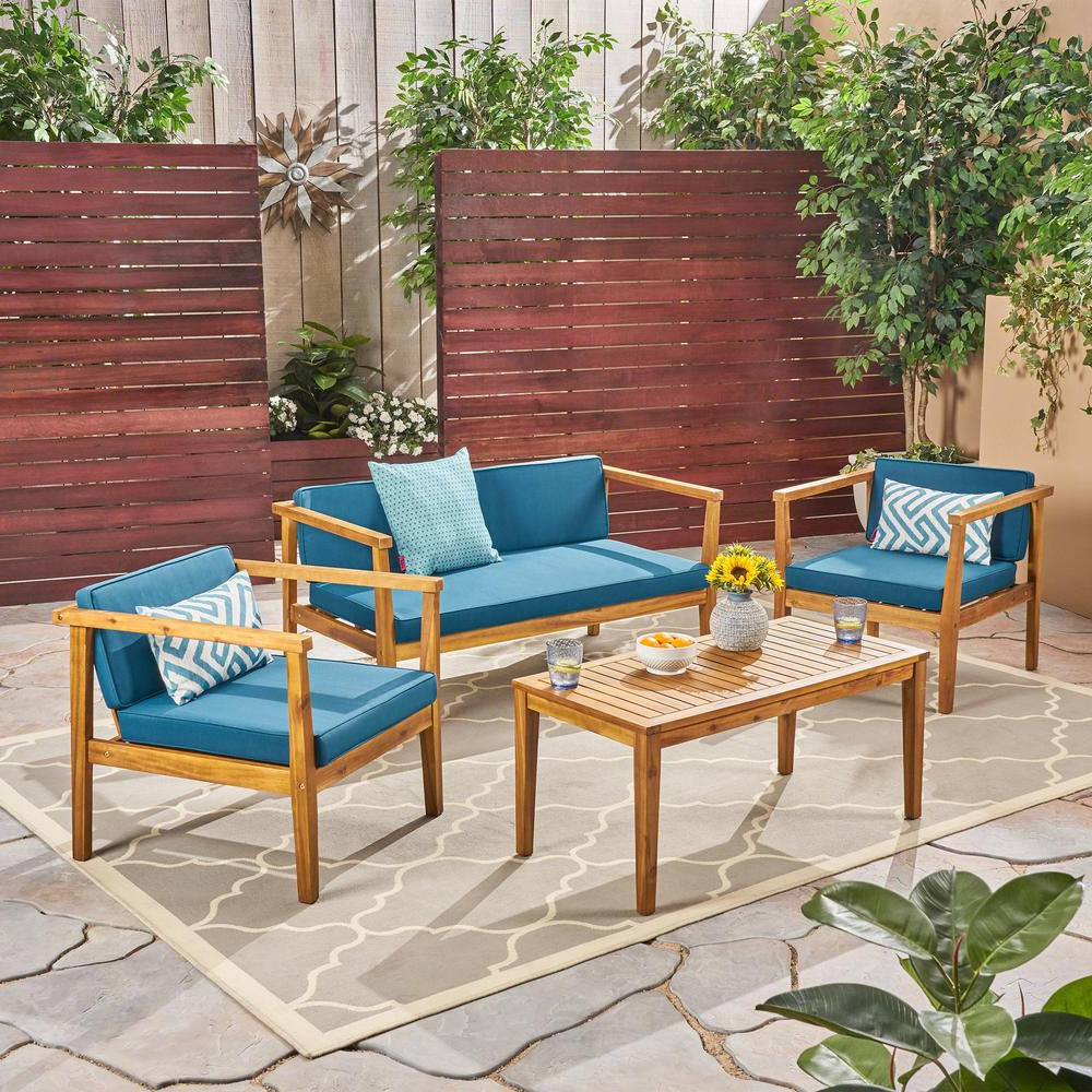 Newbury Patio Sofas With Cushions Throughout Most Up To Date Noble House Newbury Teak Brown 4 Piece Wood Patio Conversation Set With  Dark Teal Cushions (View 17 of 20)